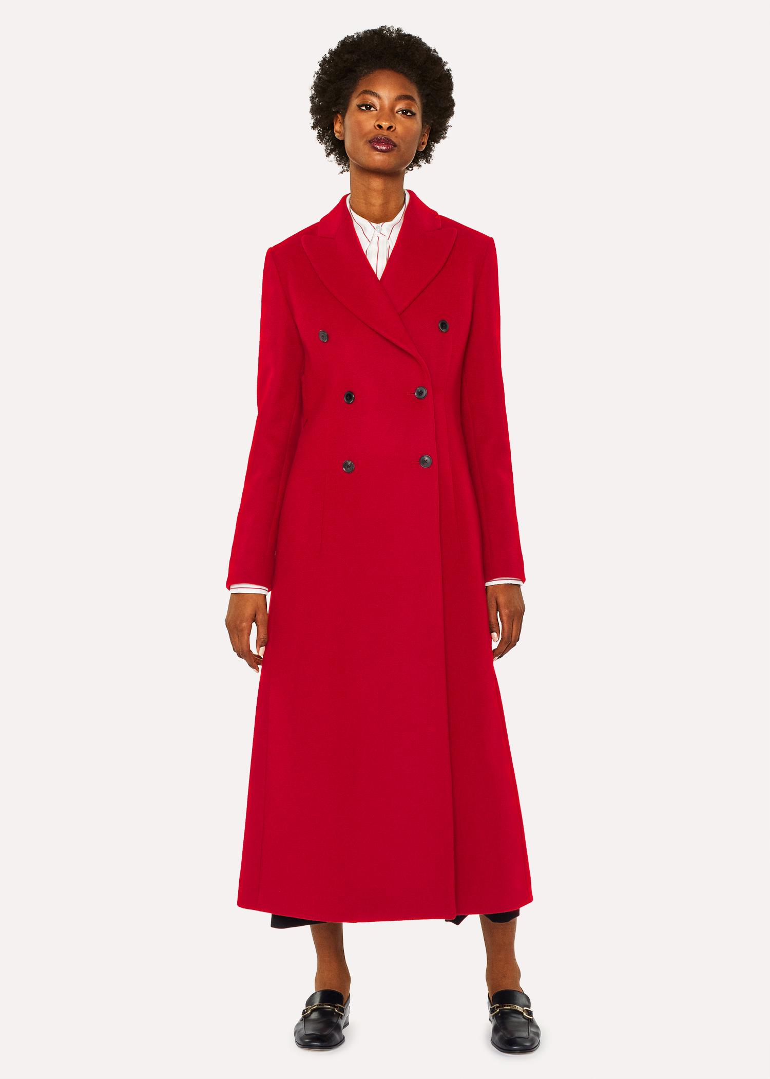 Rouge Manteau Femme Paul Long Laine Croisé Smith En Mélangée wgF4t