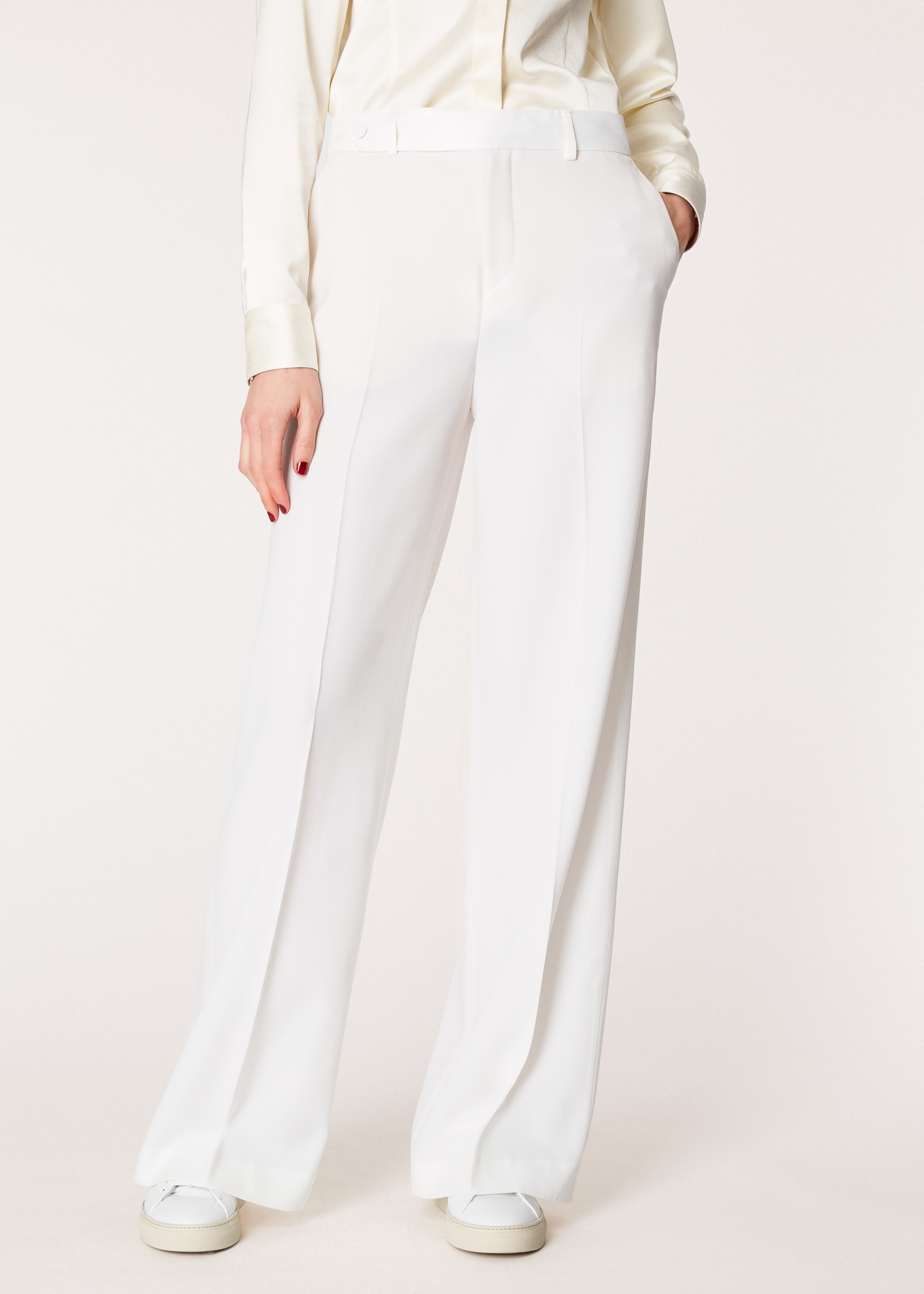 c97ffb4557a2 Model front close up- Women's Ivory Wide-Leg Tuxedo Wool Trousers With Satin  Details