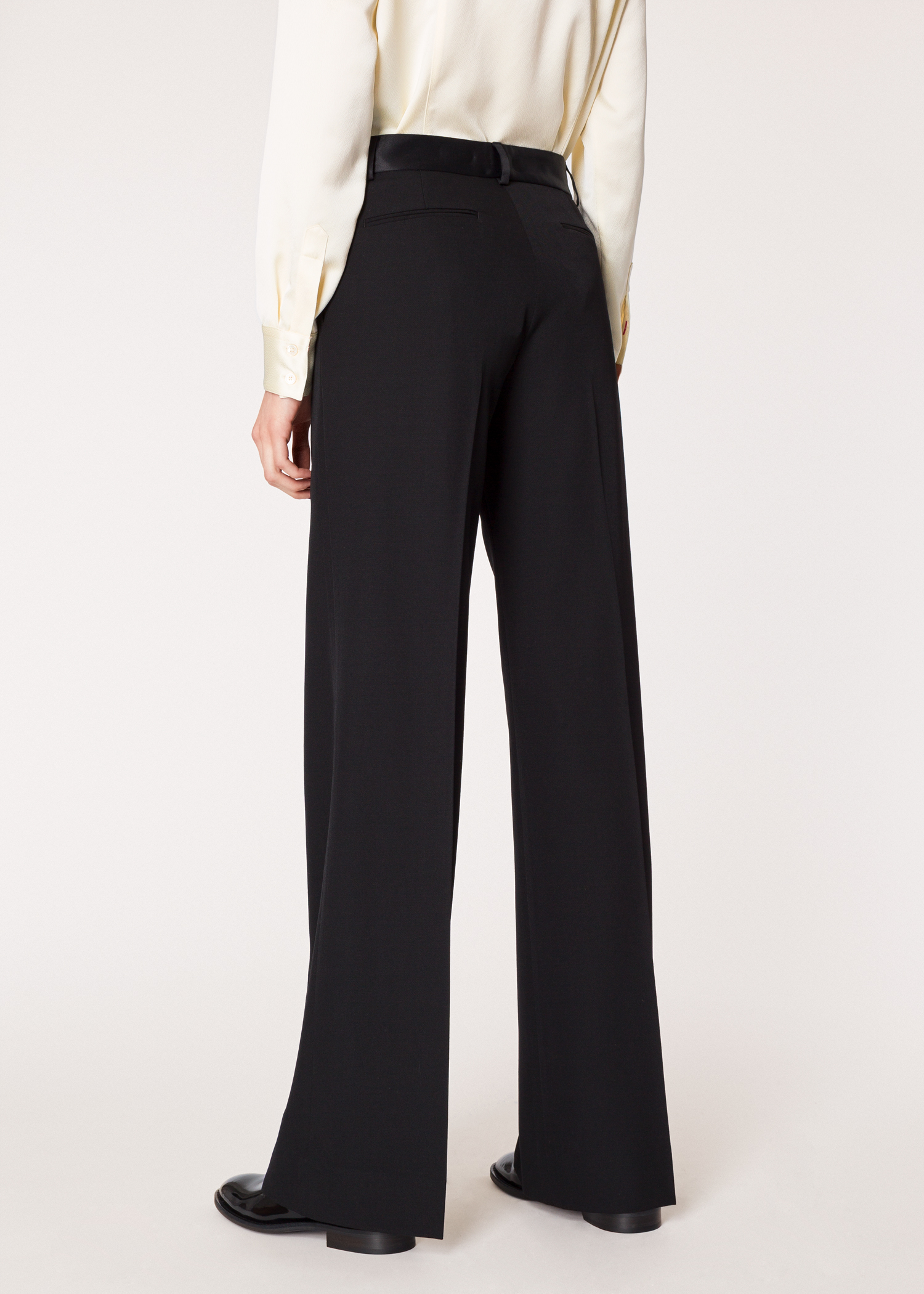 c05b77775ccd Model back close up - Women s Black Parallel Leg Tuxedo Wool Pants With  Satin Details Paul