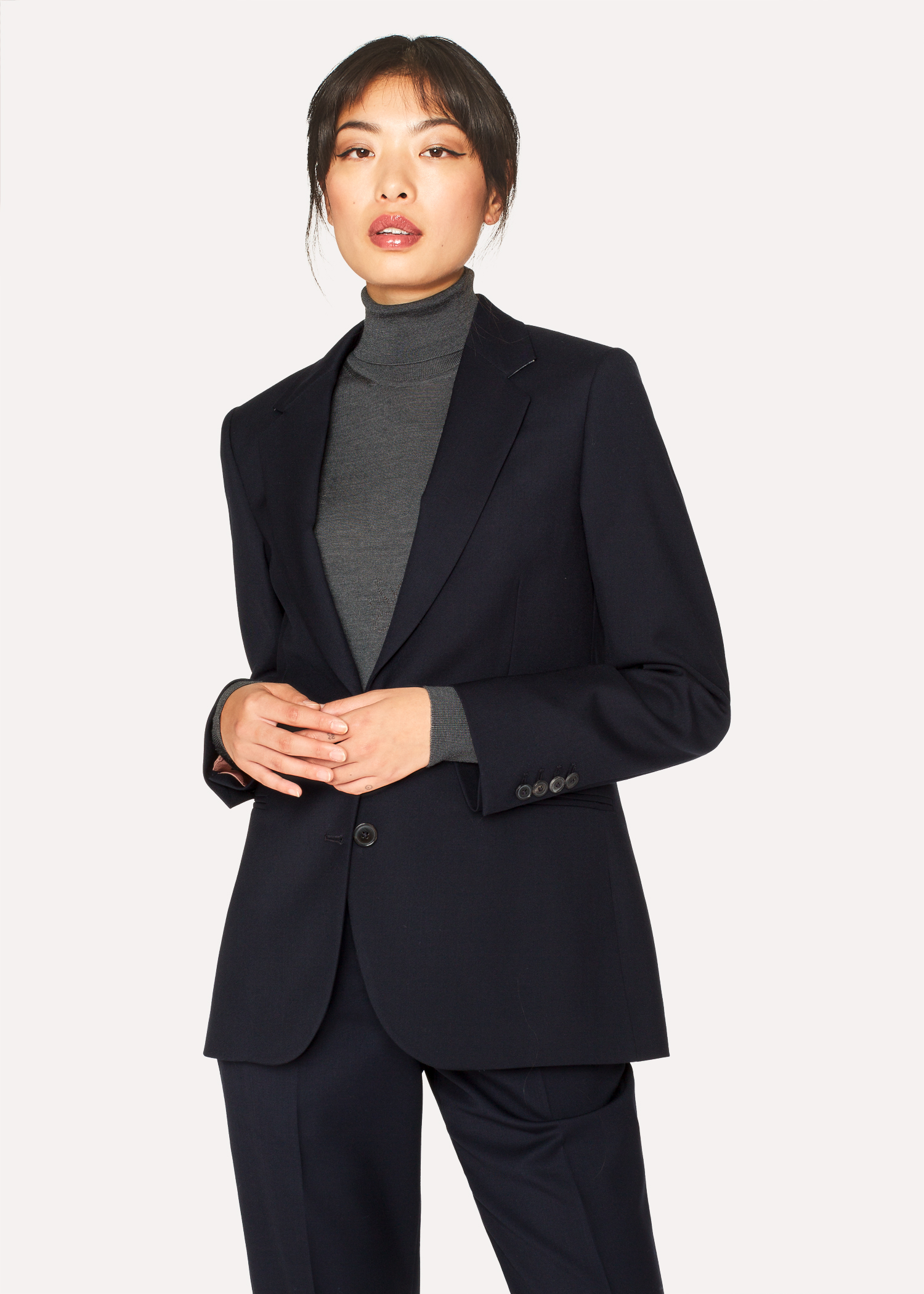 A Suit To Travel In - Women s Dark Navy Two-Button Wool Blazer Paul Smith 60f1778241