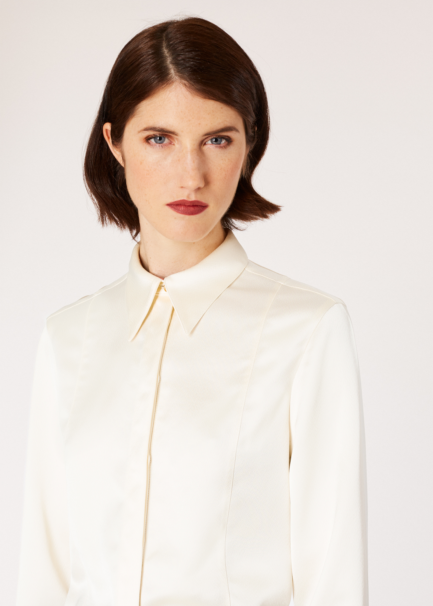 cc33a9eb6674 Model front detail shot - Women's Cream Satin Panelled Tuxedo Shirt Paul  Smith. Model front close up ...