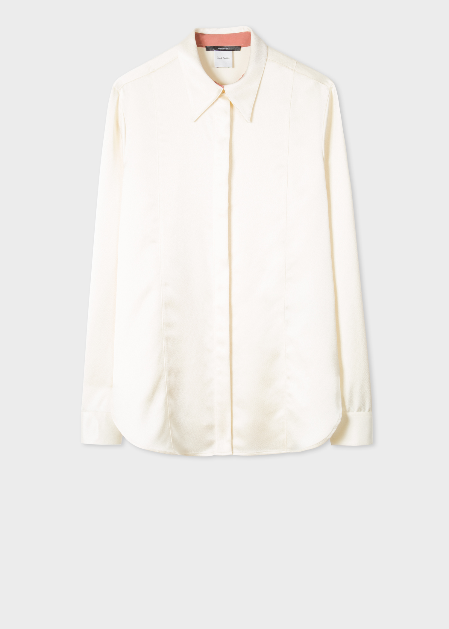cfd7dab2ab58 Front View - Women's Cream Satin Panelled Tuxedo Shirt Paul Smith