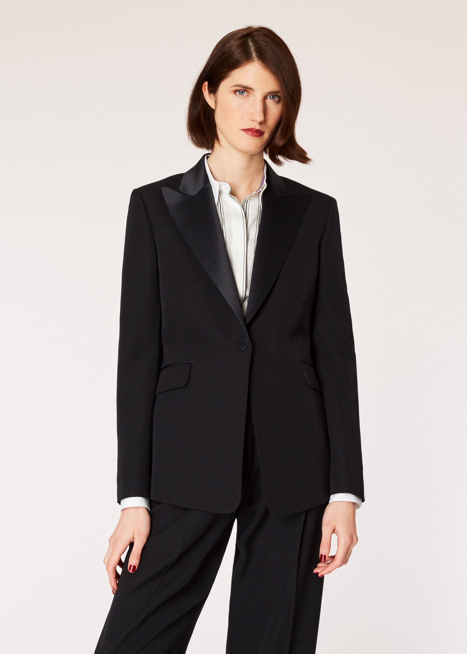 0e082c44e8 Model front close up - Women's Slim-Fit Black One-Button Wool Tuxedo  Collection