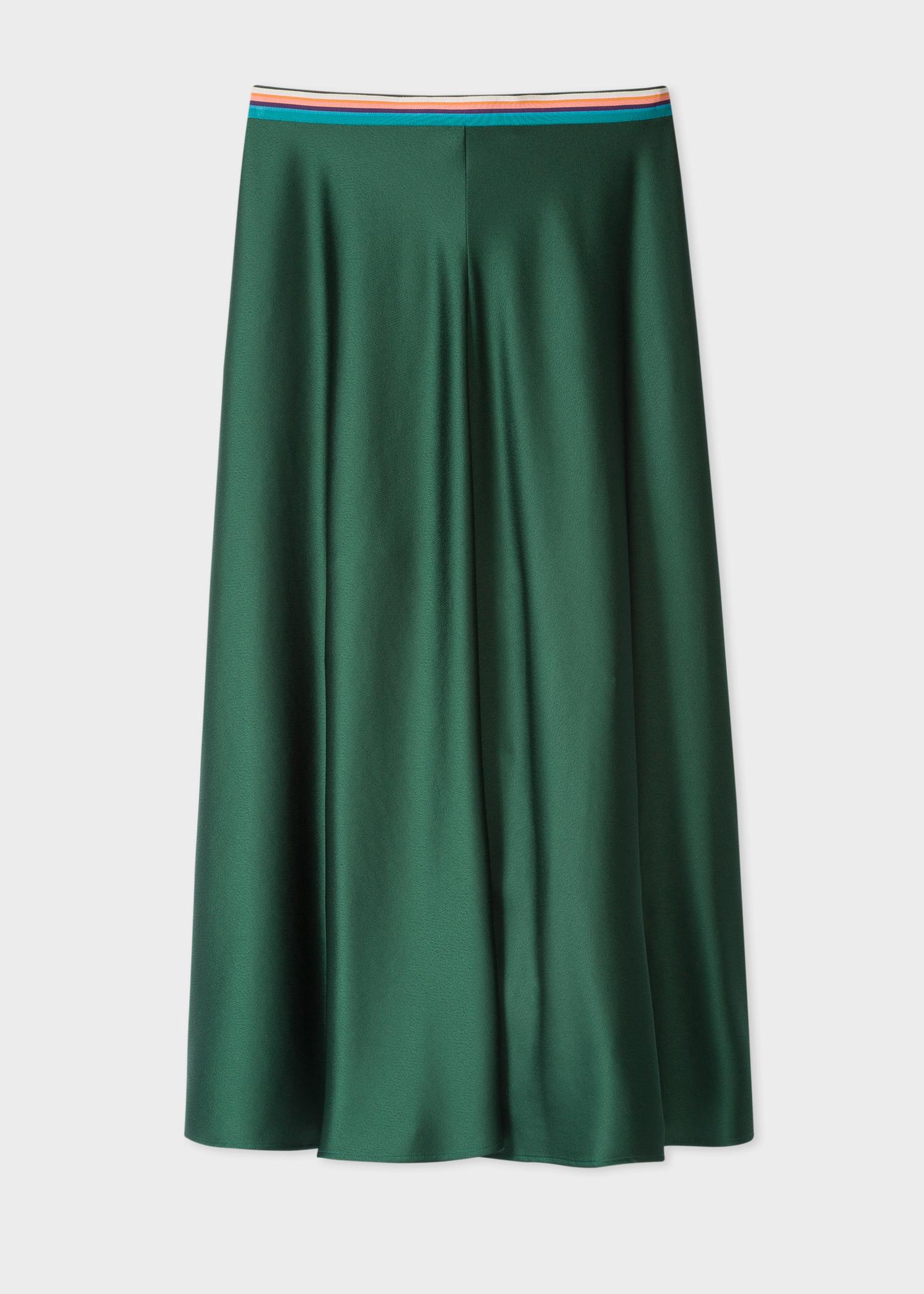 7c34bd9cdfac Front View - Women's Dark Green Midi Skirt Paul Smith
