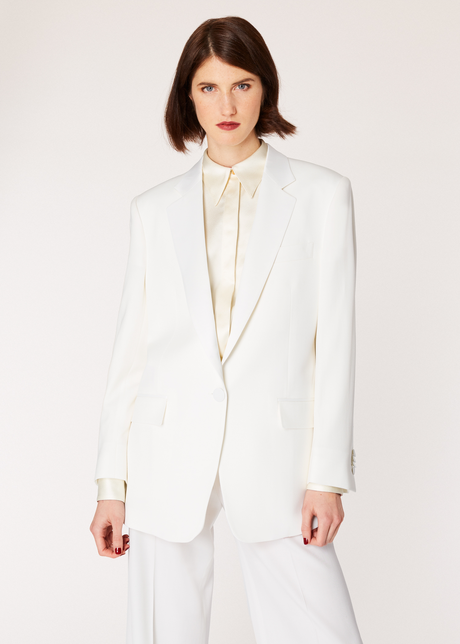 eb6aa9551a42 Model front close up - Women's Ivory One-Button Wool Boyfriend-Fit Tuxedo  Blazer