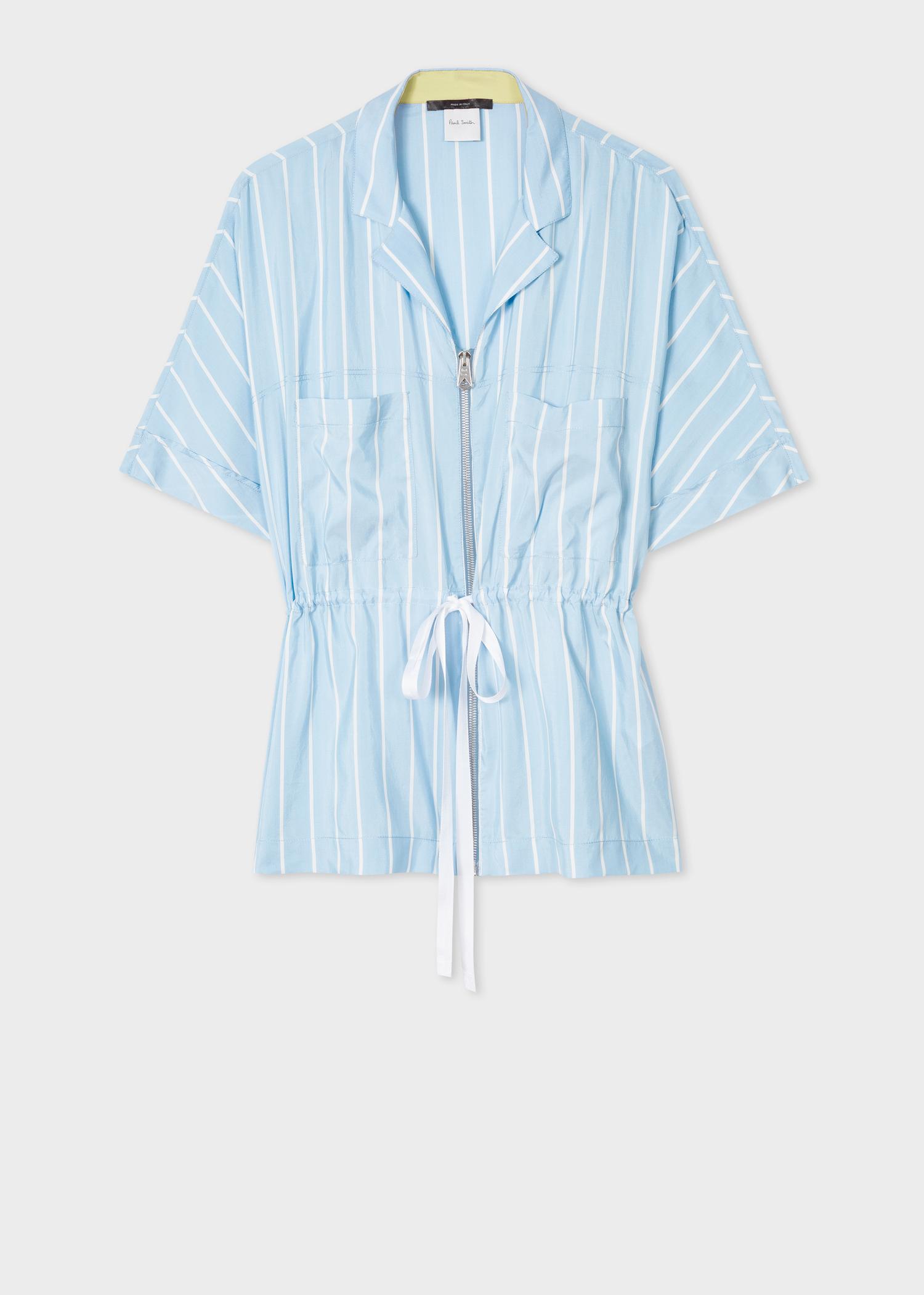 353d89a1 Front View - Women's Light Blue Stripe Silk Short-Sleeve Zip Shirt Paul  Smith