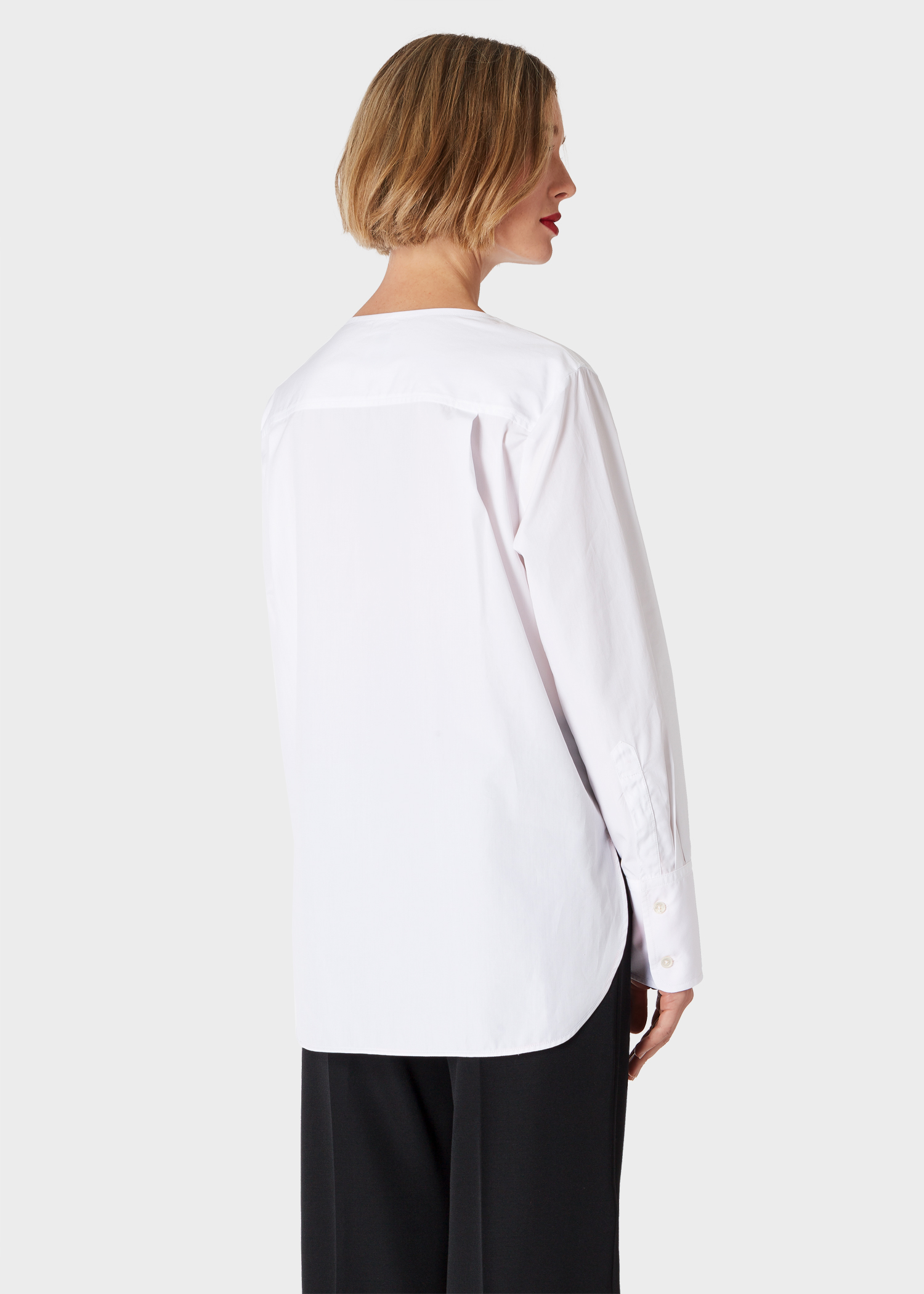 c9d4cace3e8 Model back close up - Women's White V-Neck Cotton Tunic Shirt Paul Smith