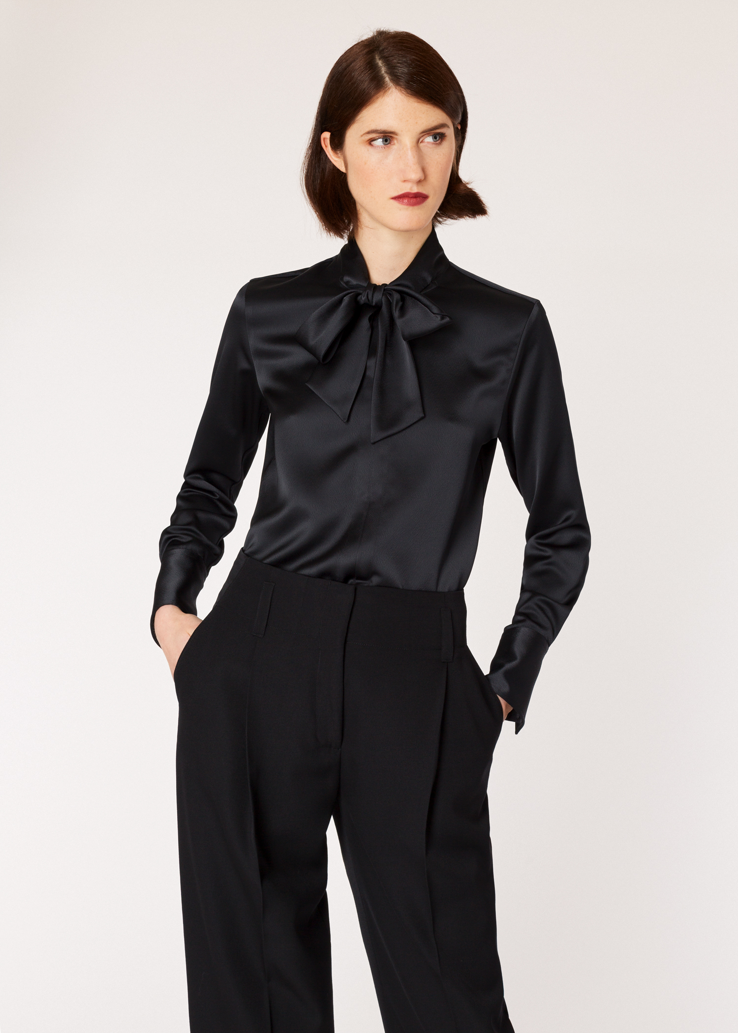 Womens Black Satin Tuxedo Shirt Paul Smith US