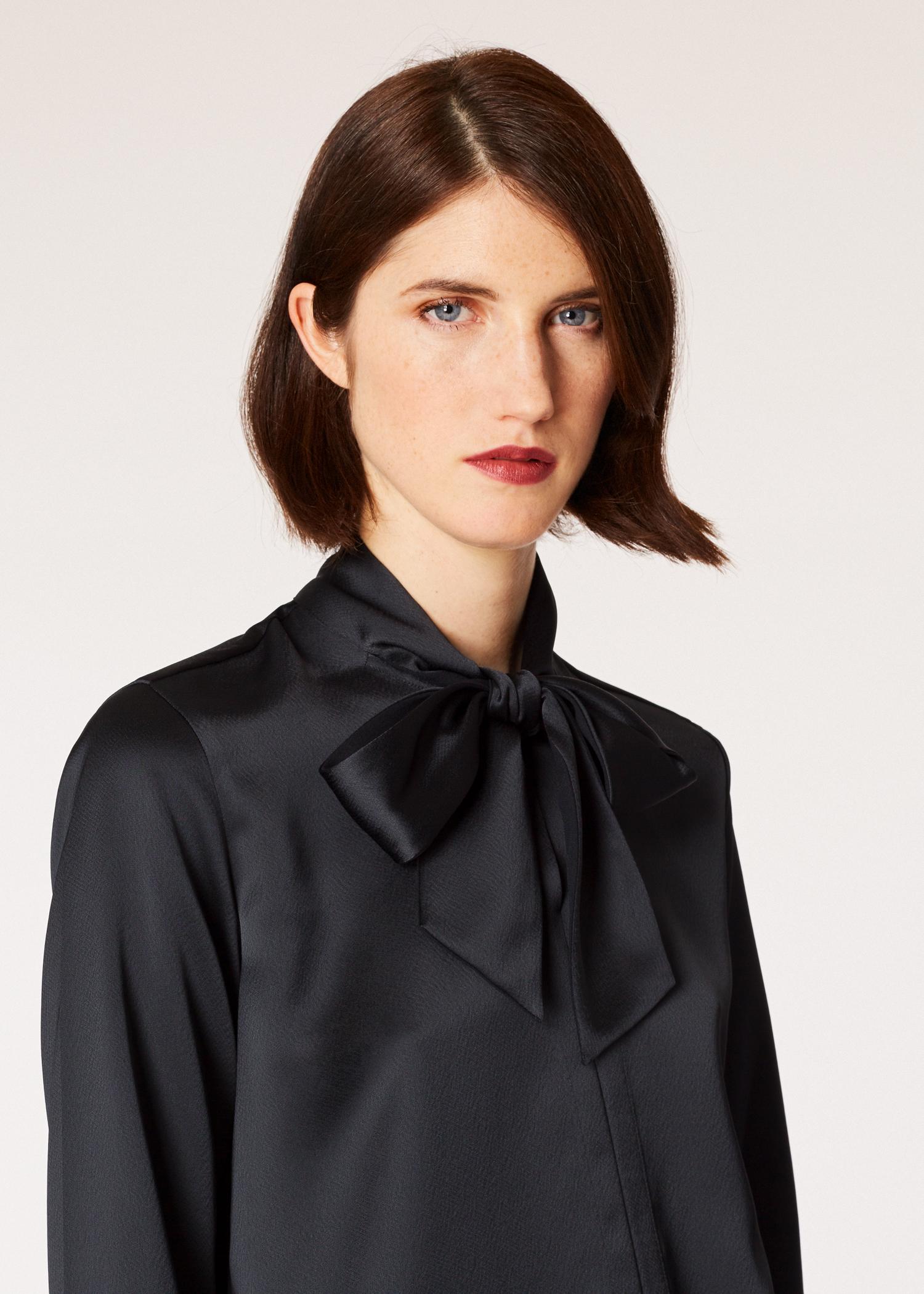 73b8fc01e7f7ca Model front close up - Women's Black Satin Tuxedo Shirt Paul Smith