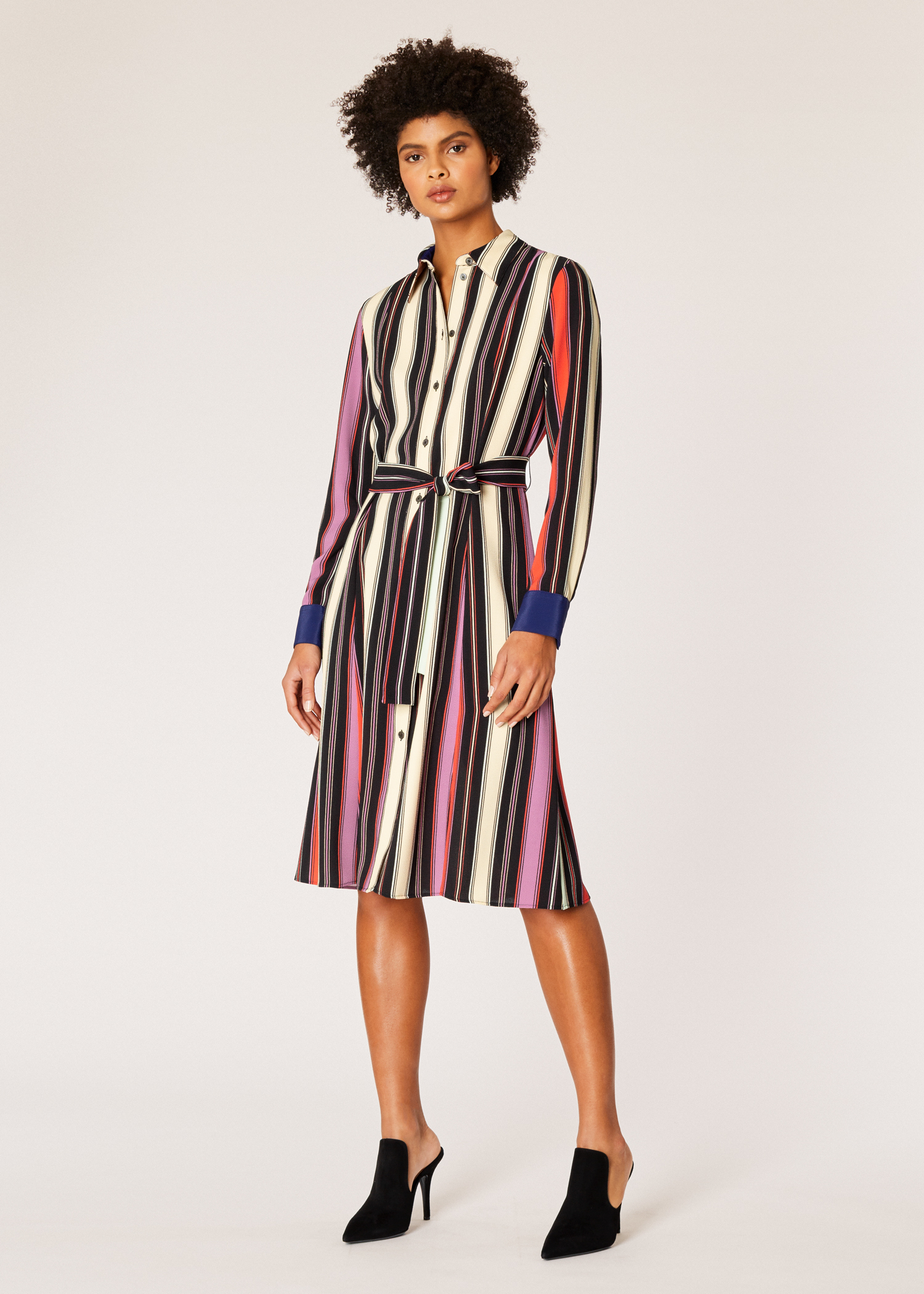 0c0a7c67eee Model front View - Women s Black Stripe Crepe Finish Shirt Dress Paul Smith