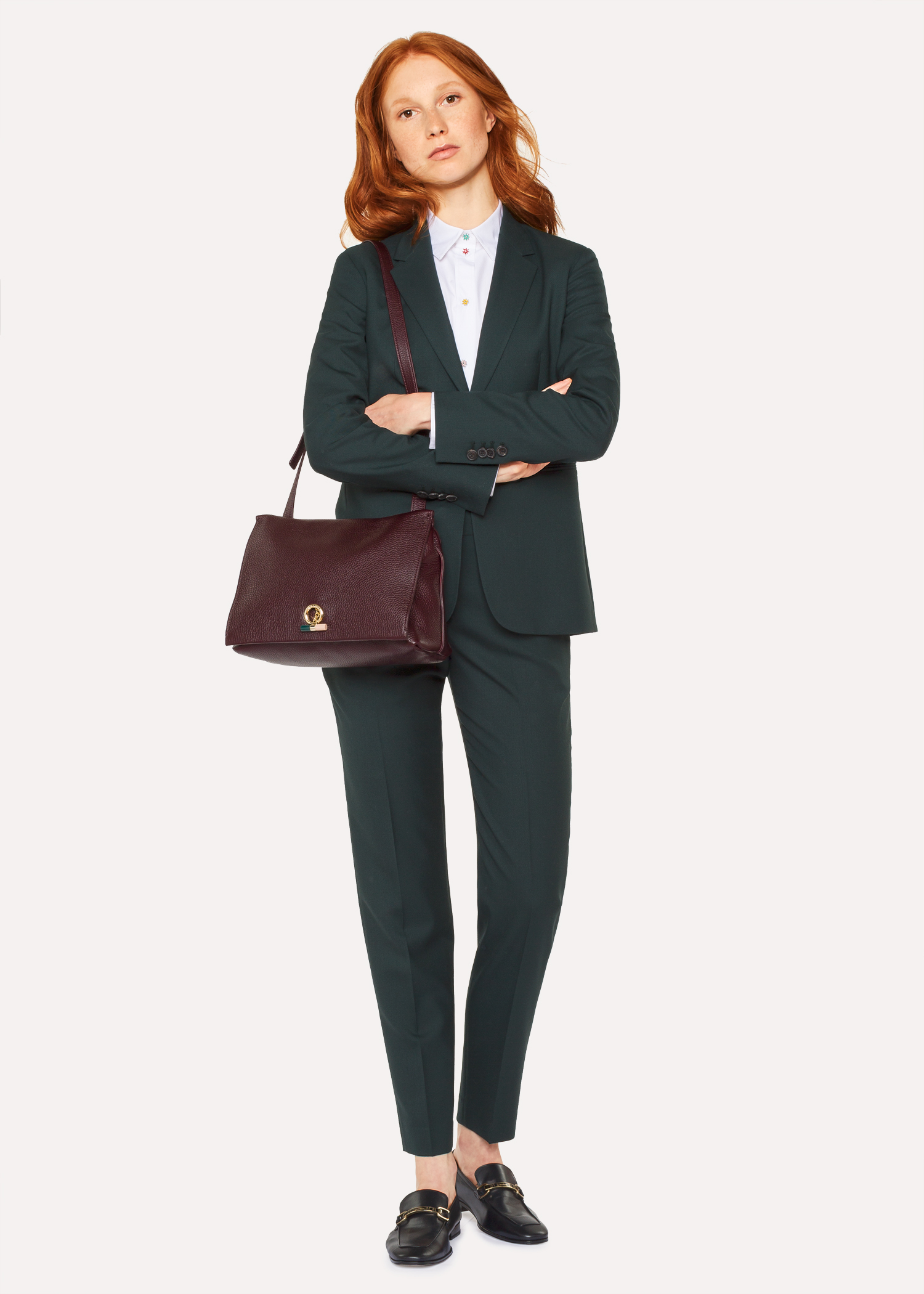 189ede1af00 A Suit To Travel In - Women s Dark Green One-Button Wool Suit - Paul ...