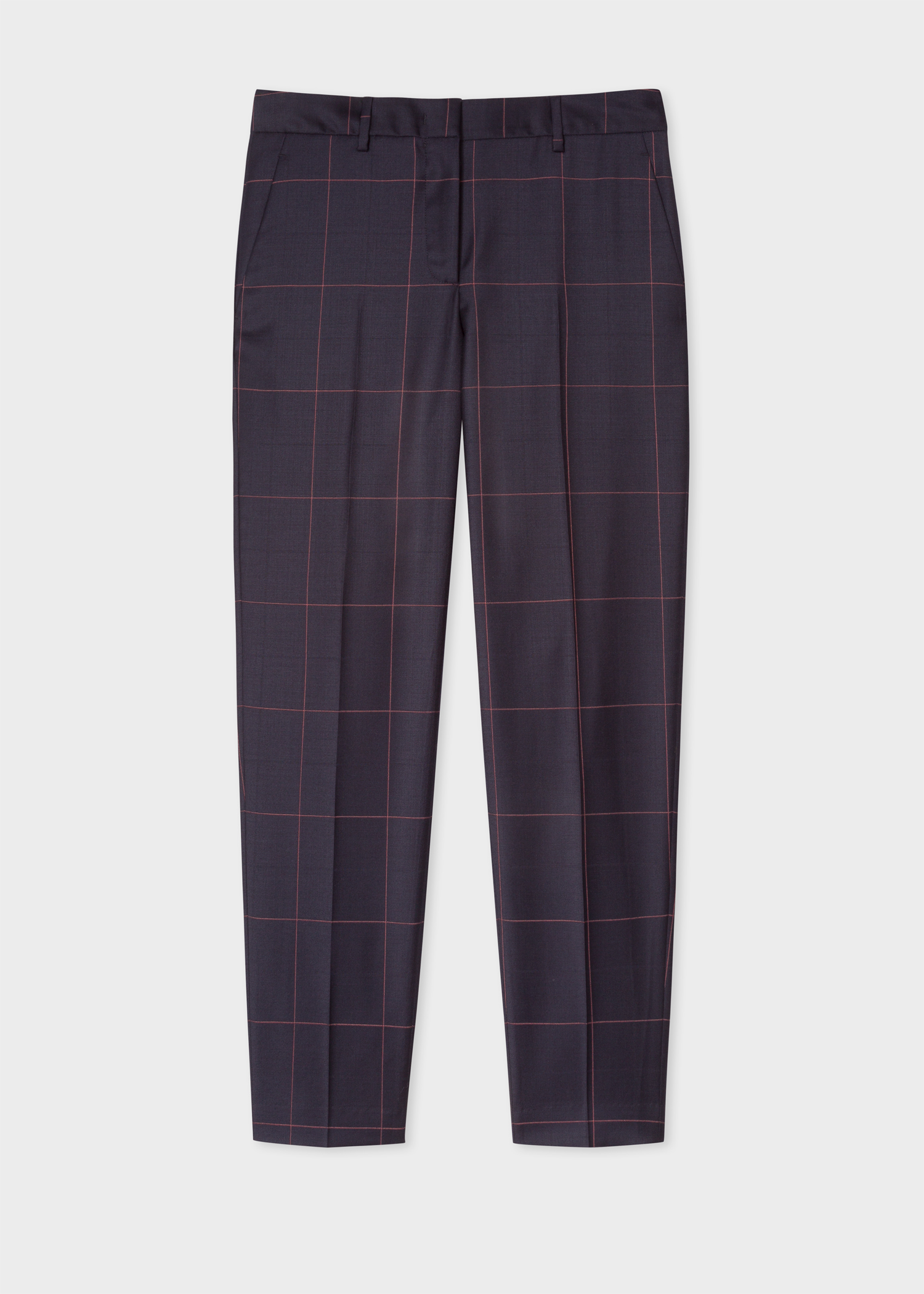 7823d5e7a2c2 Front View - Women's Classic-Fit Dark Navy Windowpane Wool Trousers Paul  Smith