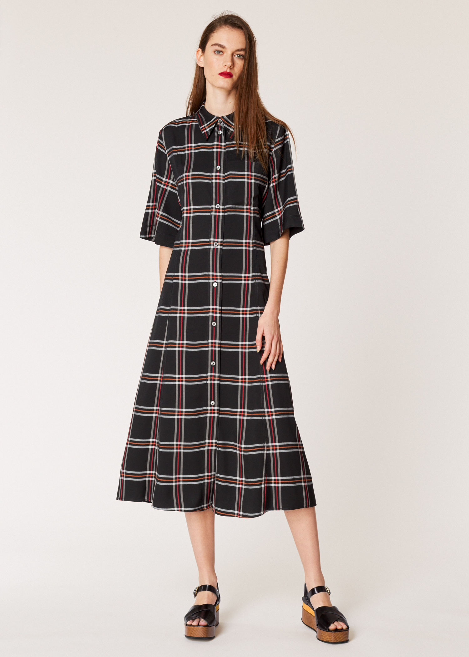 bacb67d6d135fe Model front View - Women s Black Check Midi Shirt Dress Paul Smith
