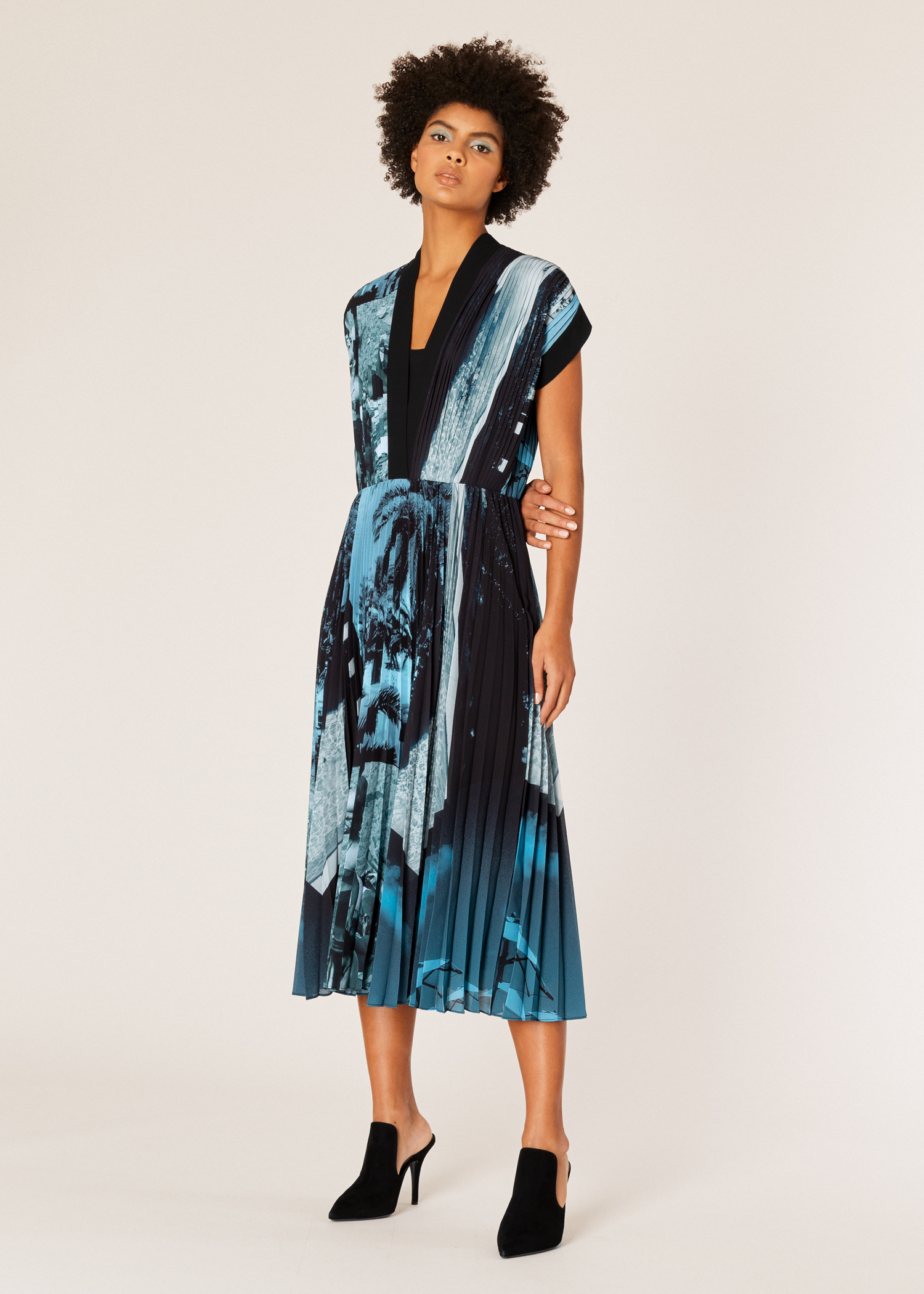 1db481ee52f Home · Womens · Dresses · Model front view- Women s  Paul s Photo  Print  Pleated Midi ...