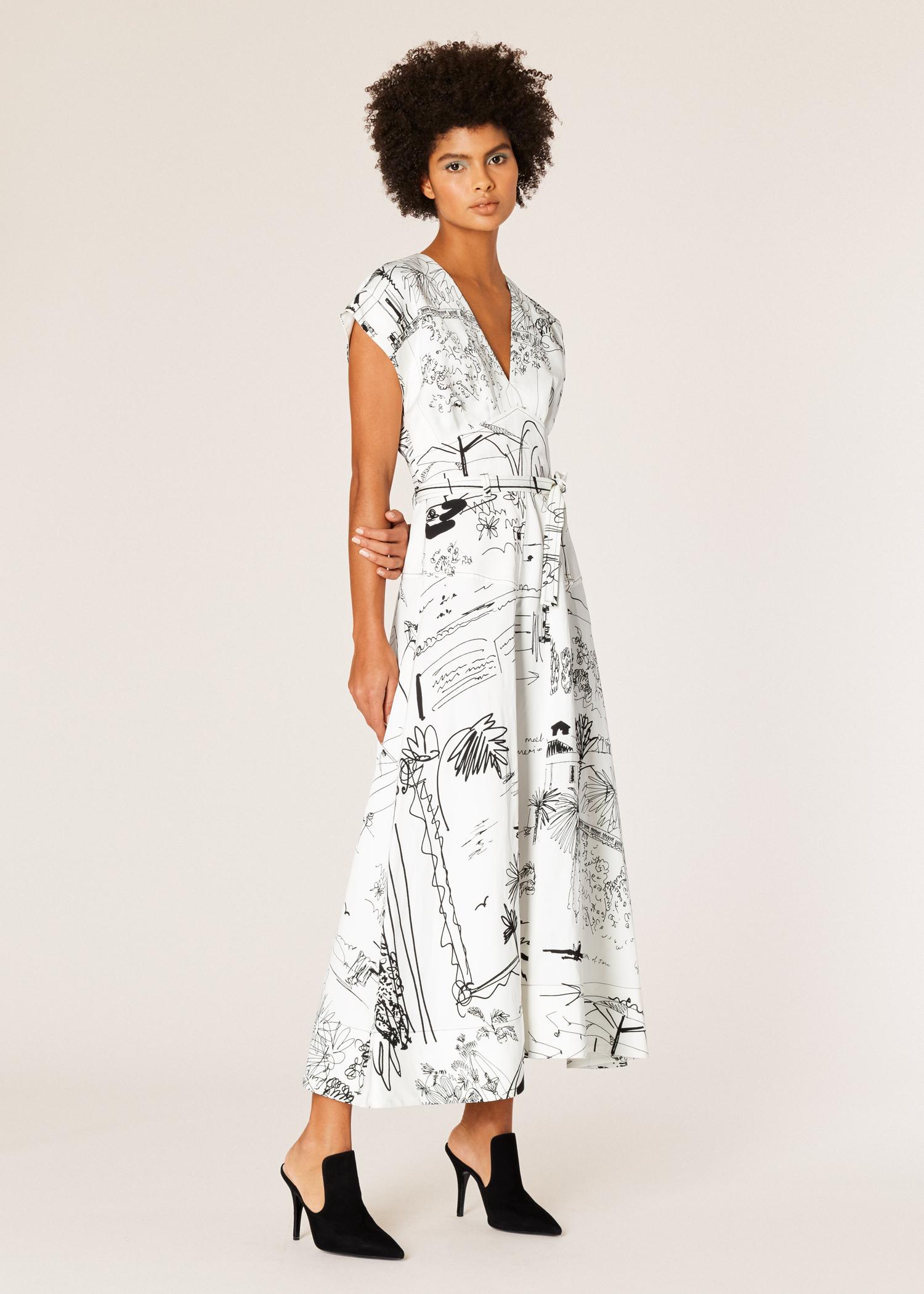 e4bad695bc7 Model front view - Women s Black And White  Journal  Print V-Neck Linen