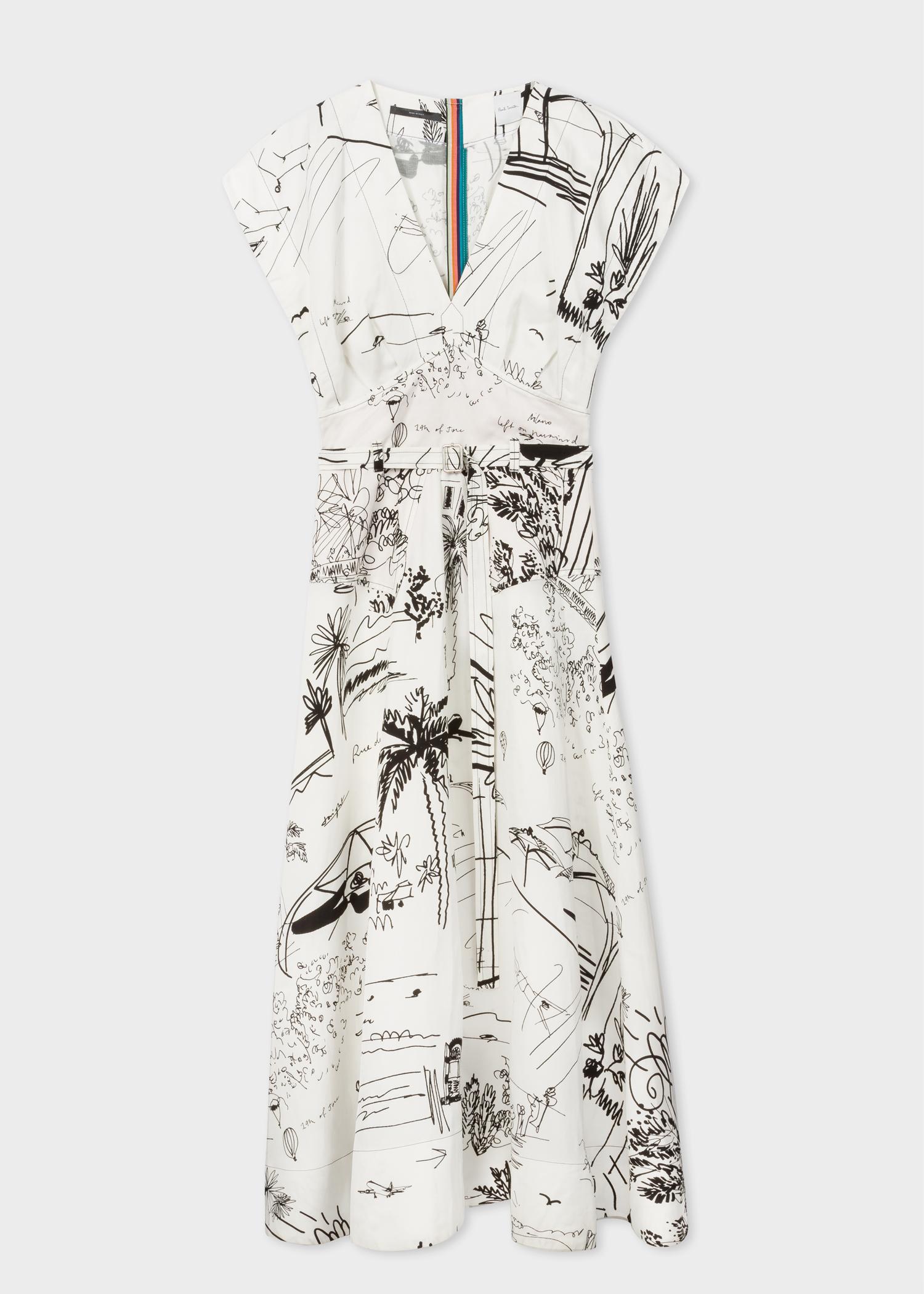 Women s Black And White  Journal  Print V-Neck Linen-Blend Midi ... ce8ae49a38