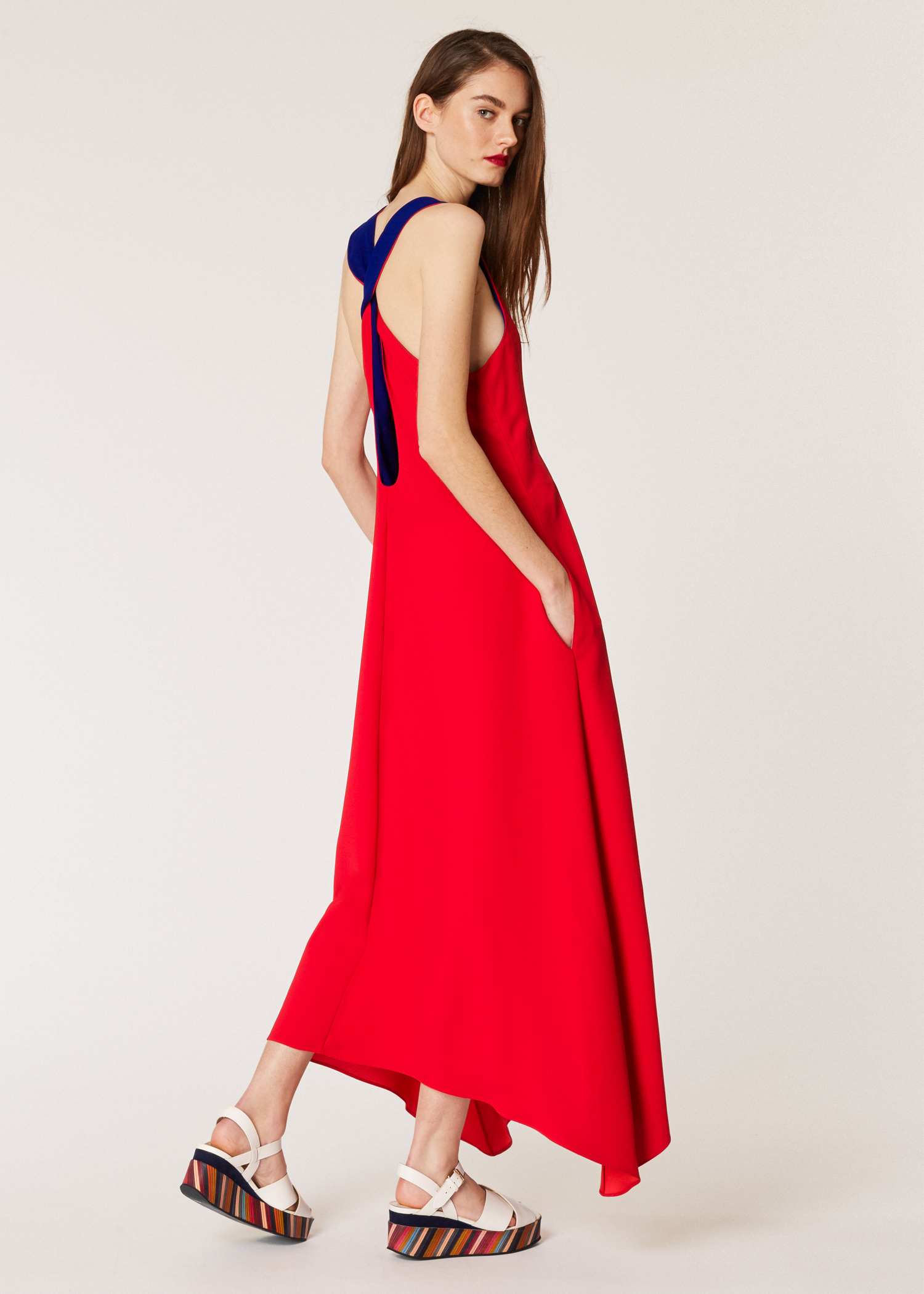 547d0aaf9b8 Model back View - Women's Red Asymmetric Sleeveless Dress Paul Smith