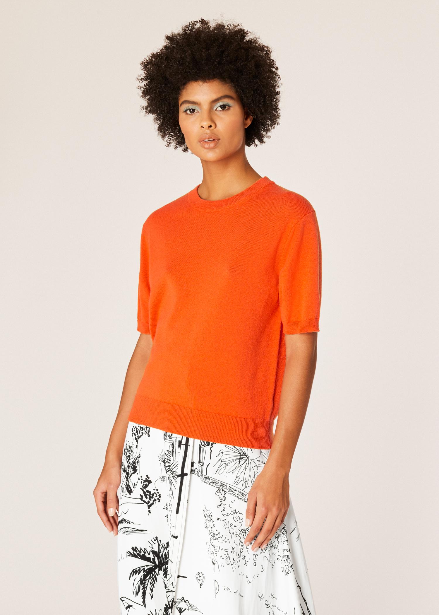 660c09bb7f8 Vue mannequin face zoom- Pull Femme Orange À Manches Courtes En Cachemire  Paul Smith