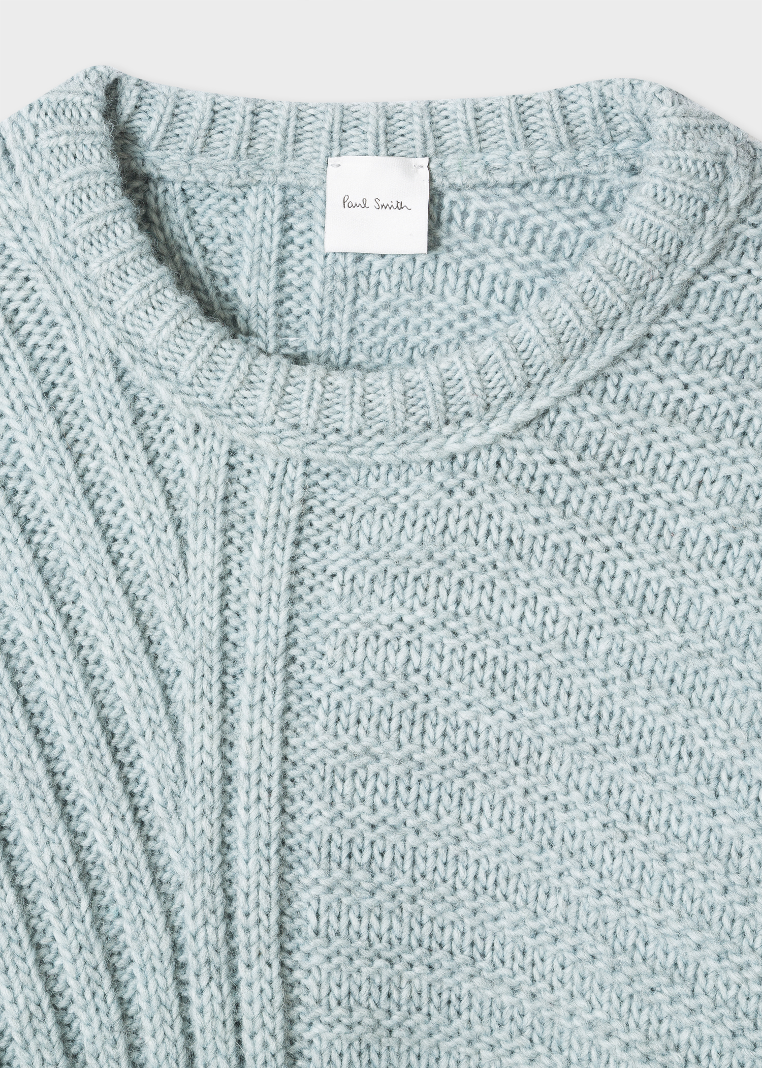 44e58785302373 Detail view - Women's Light Blue Wool-Alpaca Blend Chunky-Knit Sweater Paul  Smith