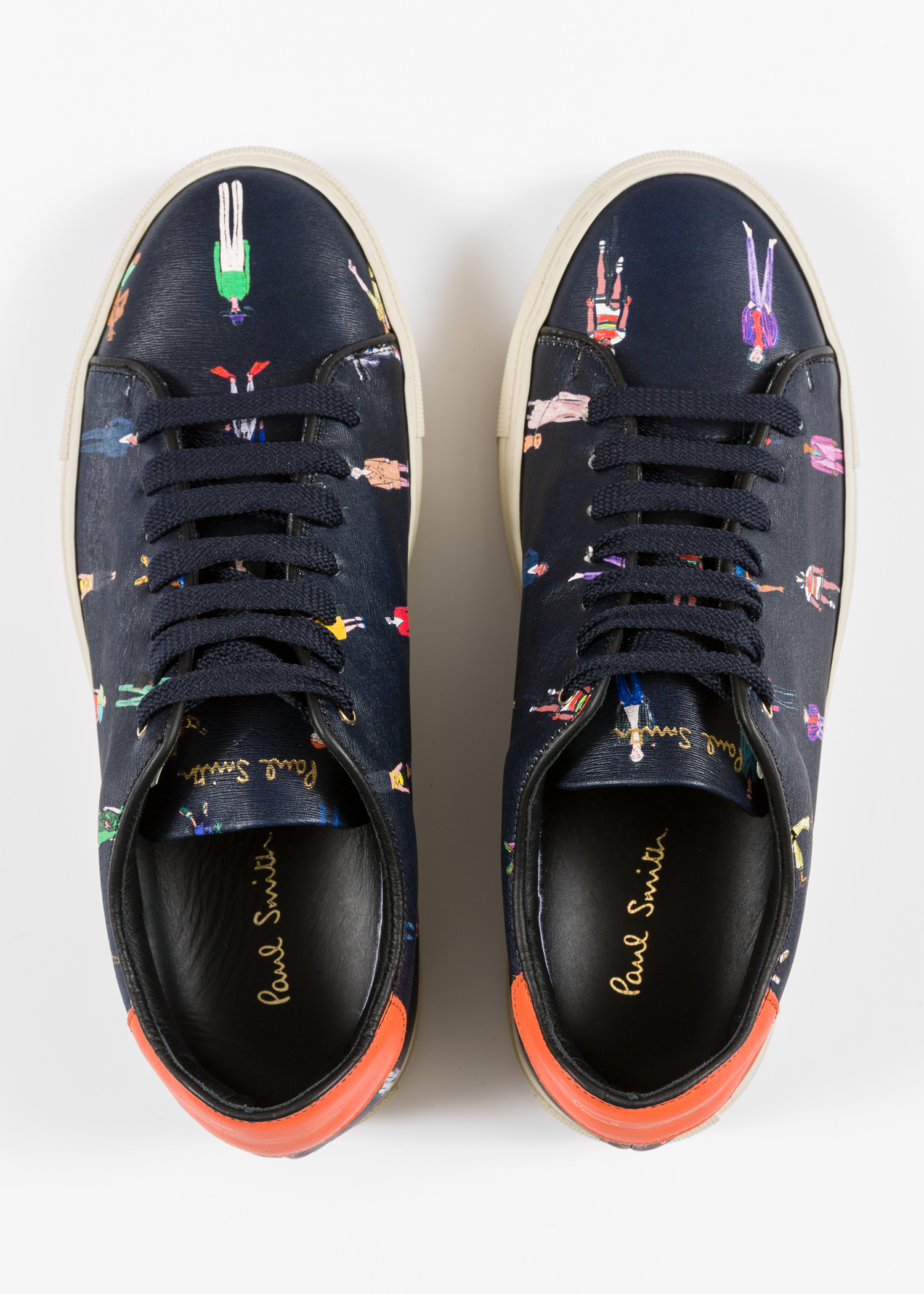 2541a1f2ae9d Front view - Women s Navy Leather  People  Print  Basso  Trainers ...