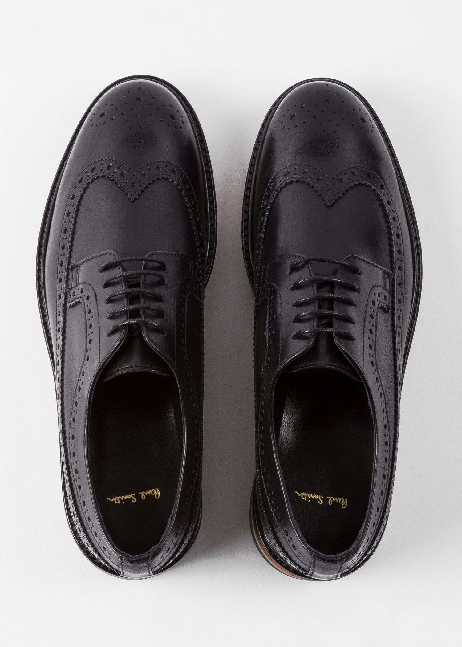 26ab3da8048 Women's Black Leather 'Grand' Brogues With Striped Soles Paul Smith