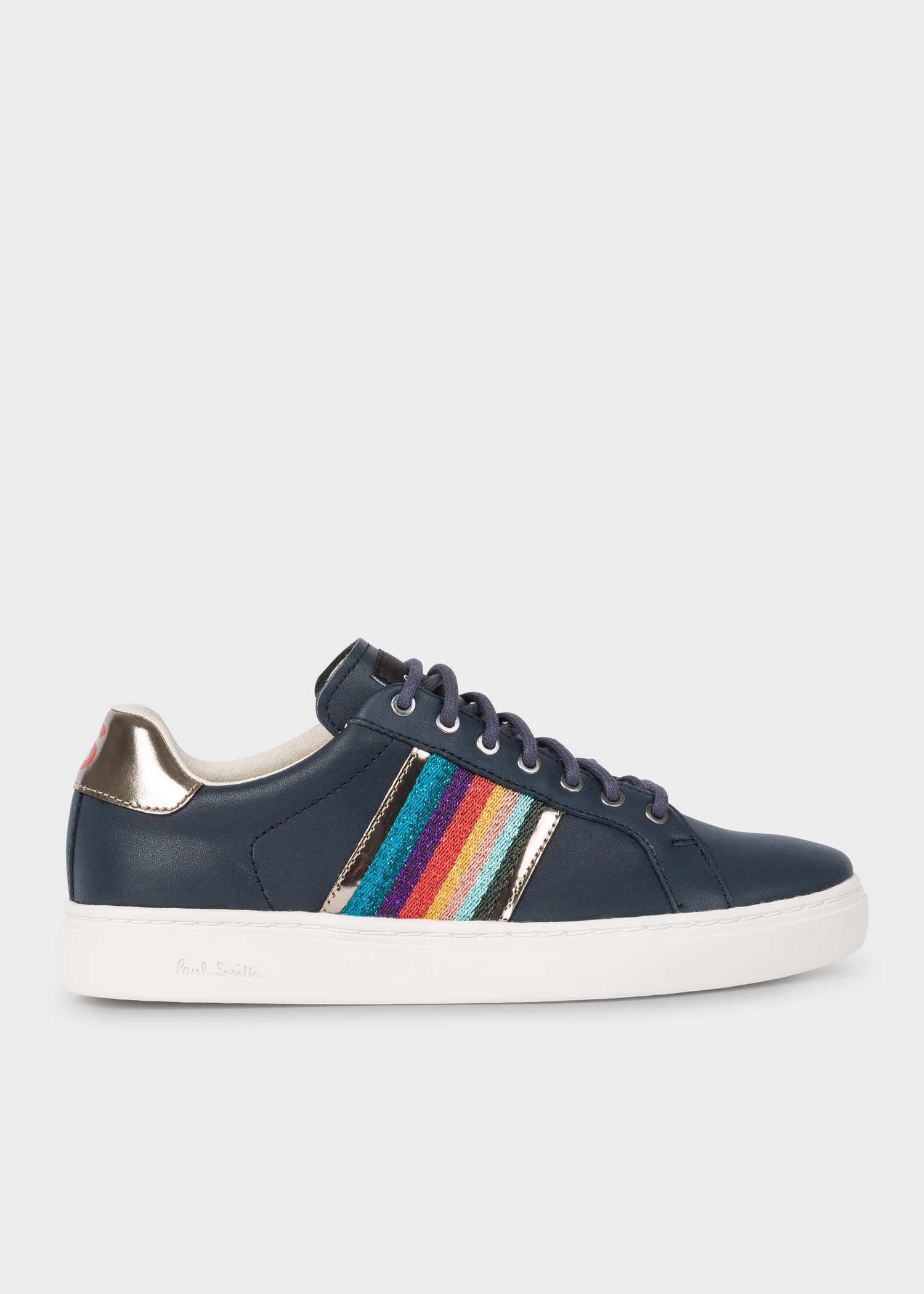 025c6c5a2036 Side view - Women's Navy Glitter 'Artist Stripe' Leather 'Lapin' Trainers  With