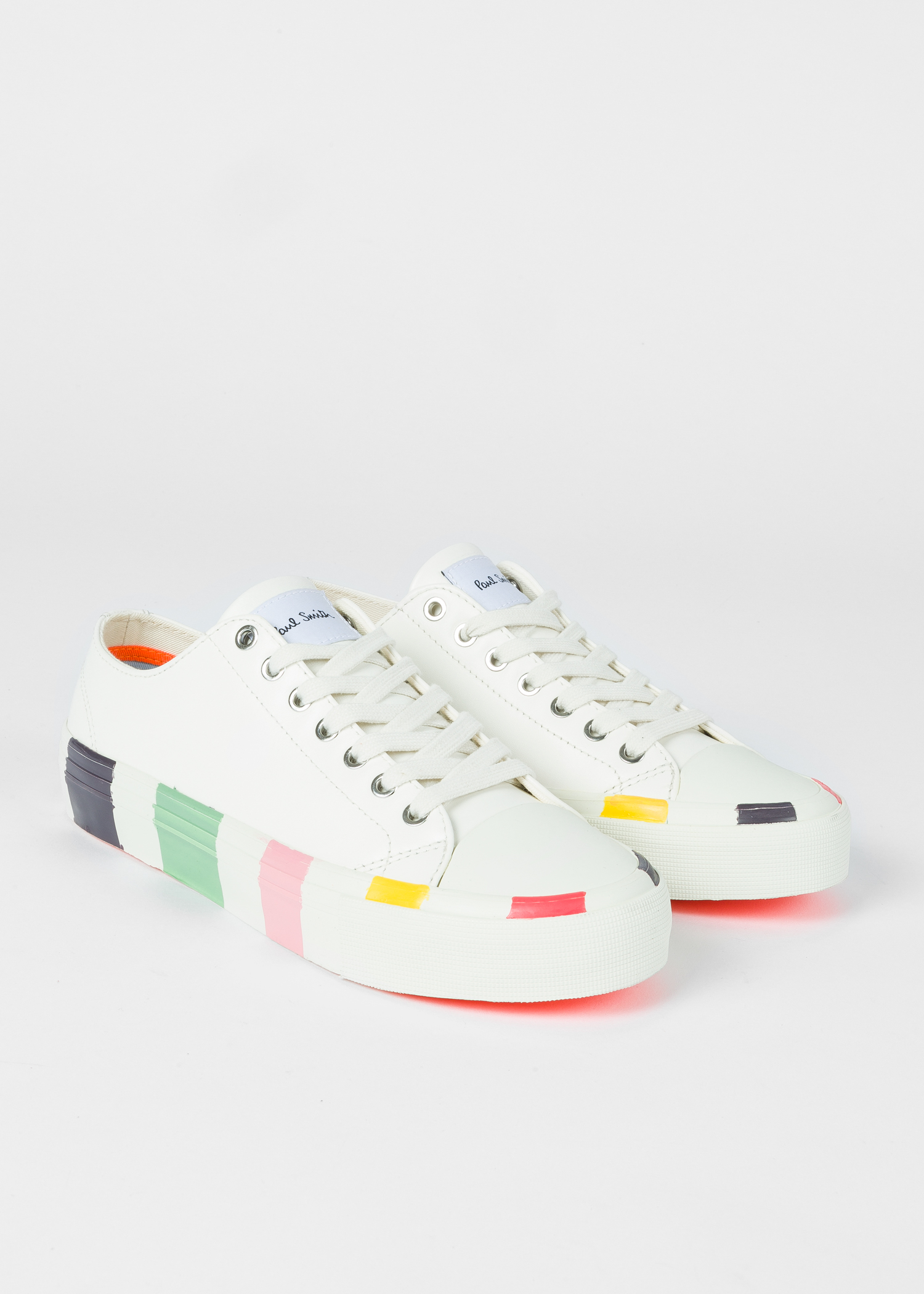 6f5342003d08 Pair view - Women s White Leather  Nolan  Sneakers With Multi-Coloured  Soles Paul