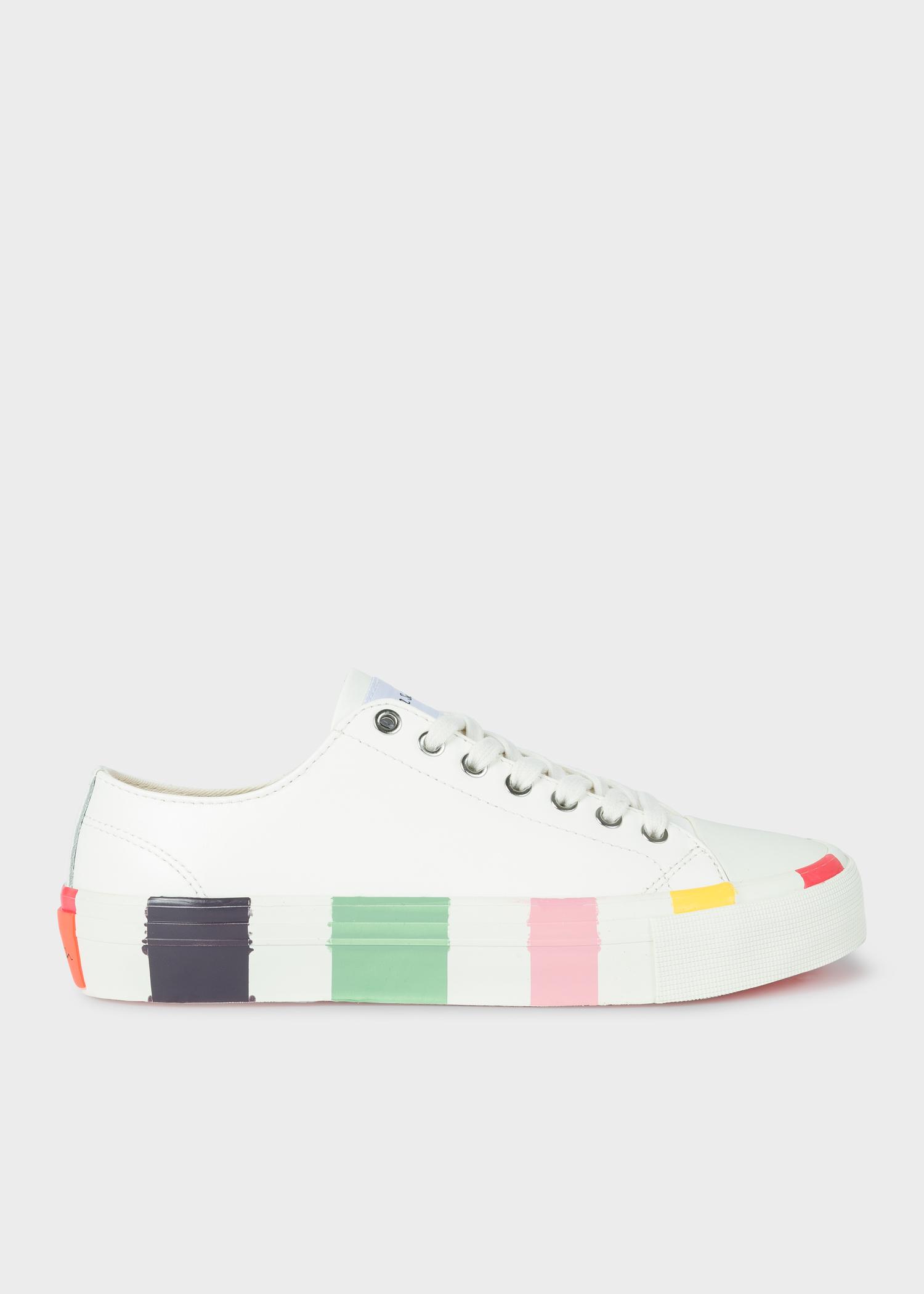 Femme Paul Semelles Baskets Blanches 'nolan' Multicolores En Cuir mn08wNv