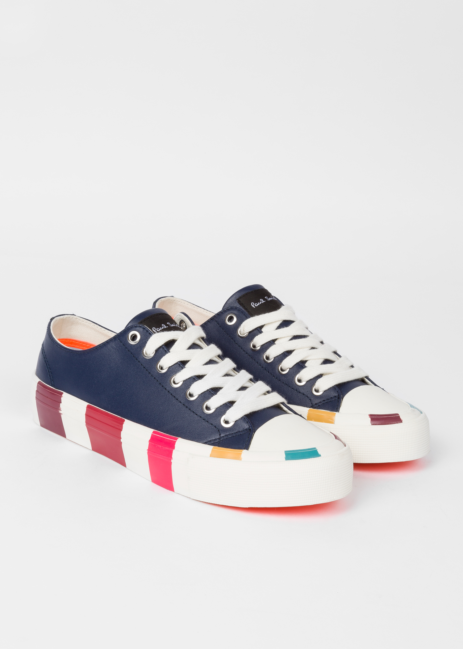 1f24242cefb9 Angled view - Women s Navy Leather  Nolan  Sneakers With Multi-Coloured  Soles Paul