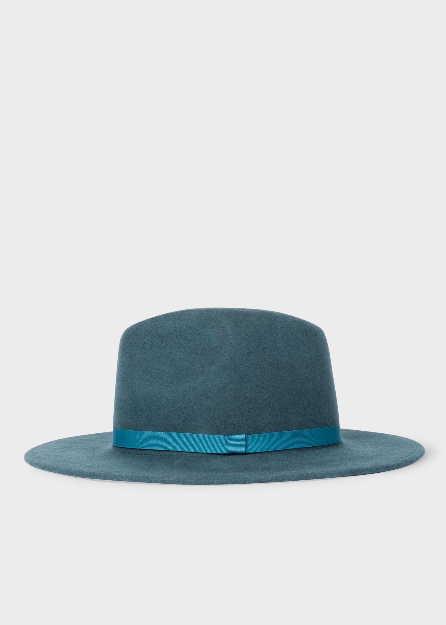 Women s Slate Blue Wool Fedora Hat With  Acapulco  Lining - Paul ... 4e23fa4a8