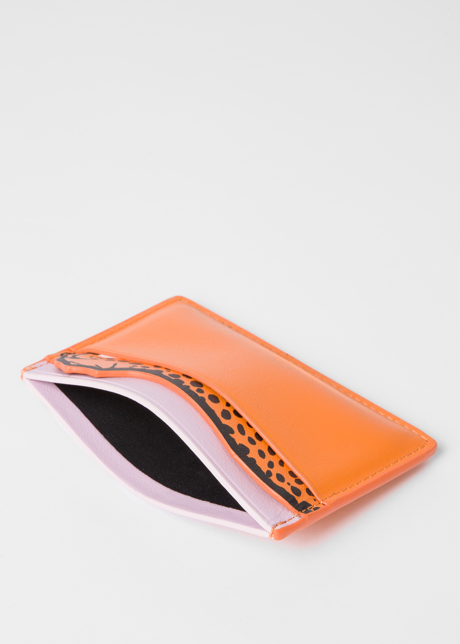 0cbc55e50cd Women's Orange 'Cheetah' Motif Leather Credit Card Holder