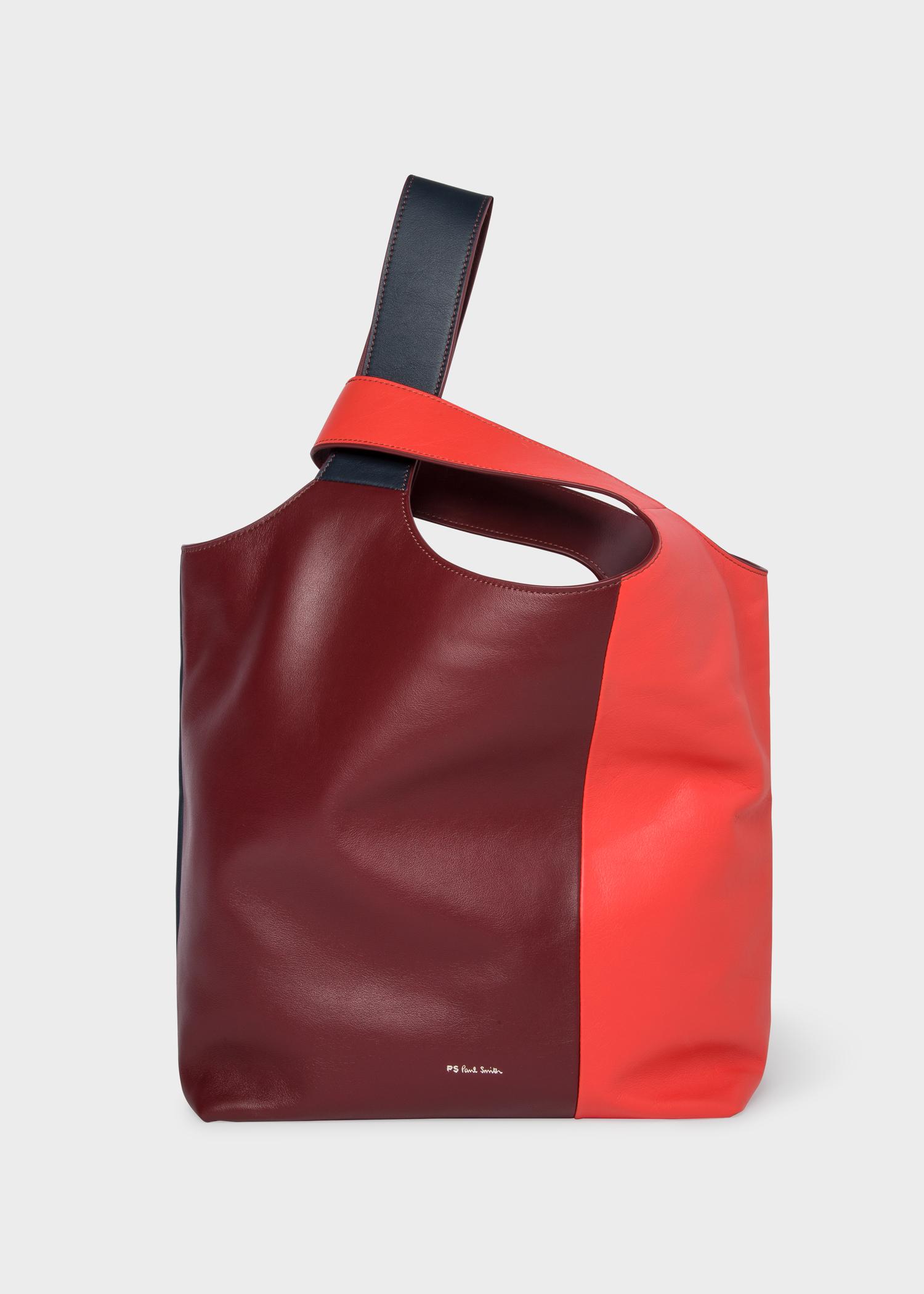 69a339ee43 Vue de face - Sac Cabas Femme Rouge Color-Block En Cuir Paul Smith