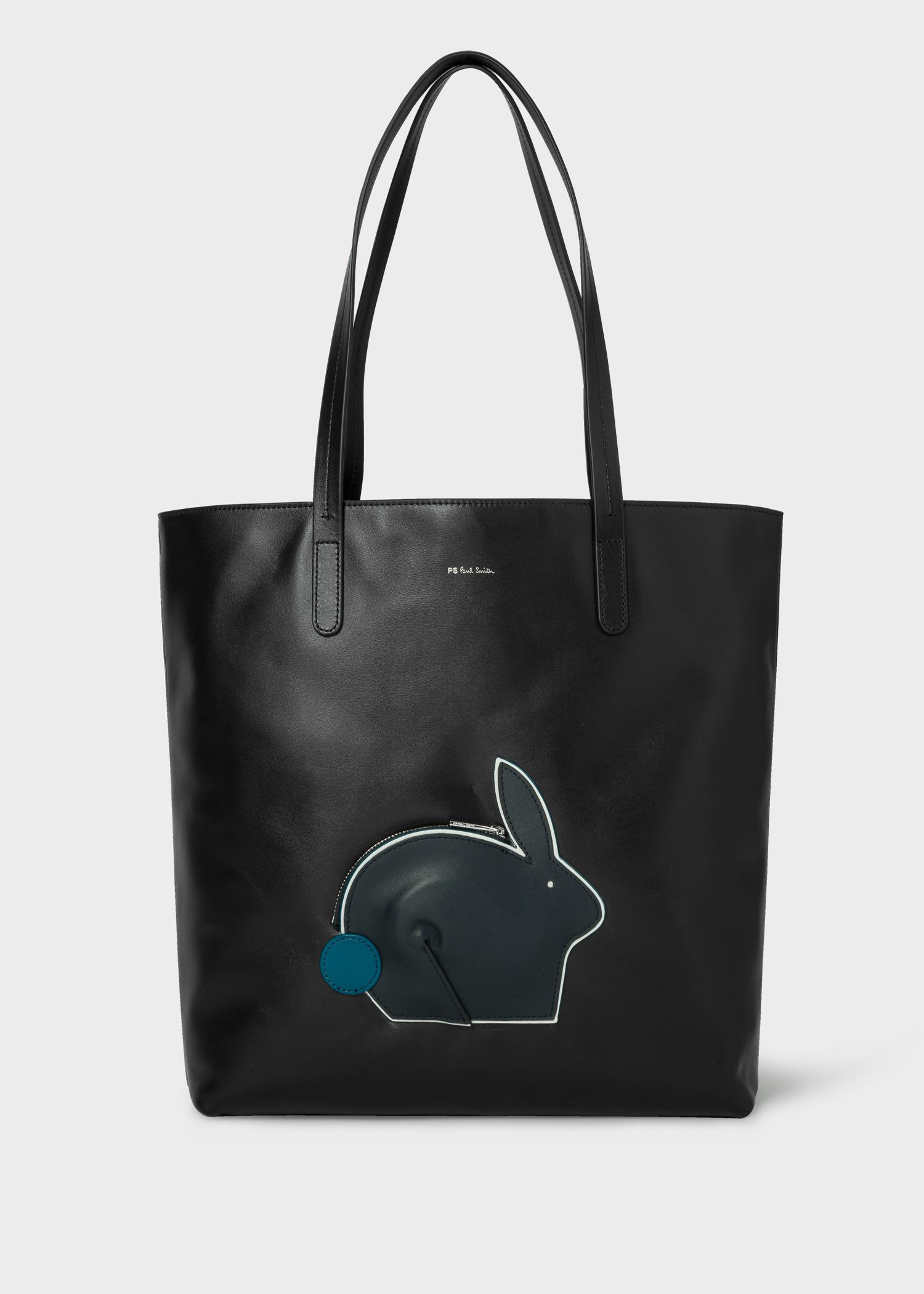 Womens Black Rabbit Pocket Leather Tote Bag Paul Smith Hong Kong