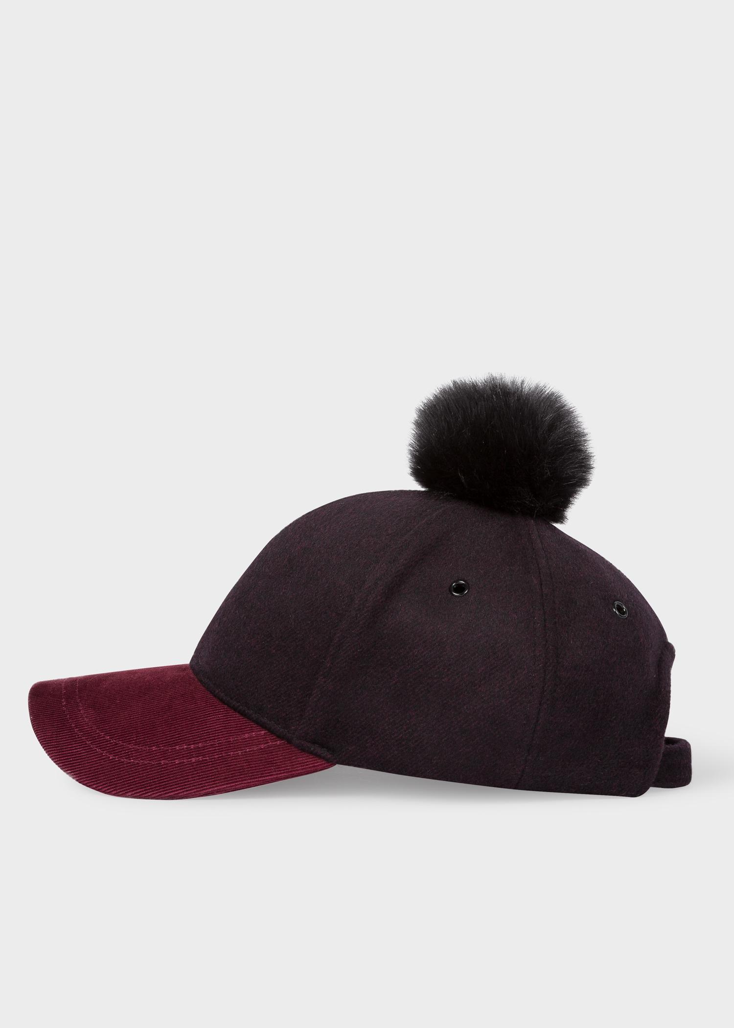136a9f21052 Women s Black and Burgundy Wool Pom-Pom Cap - Paul Smith Australia
