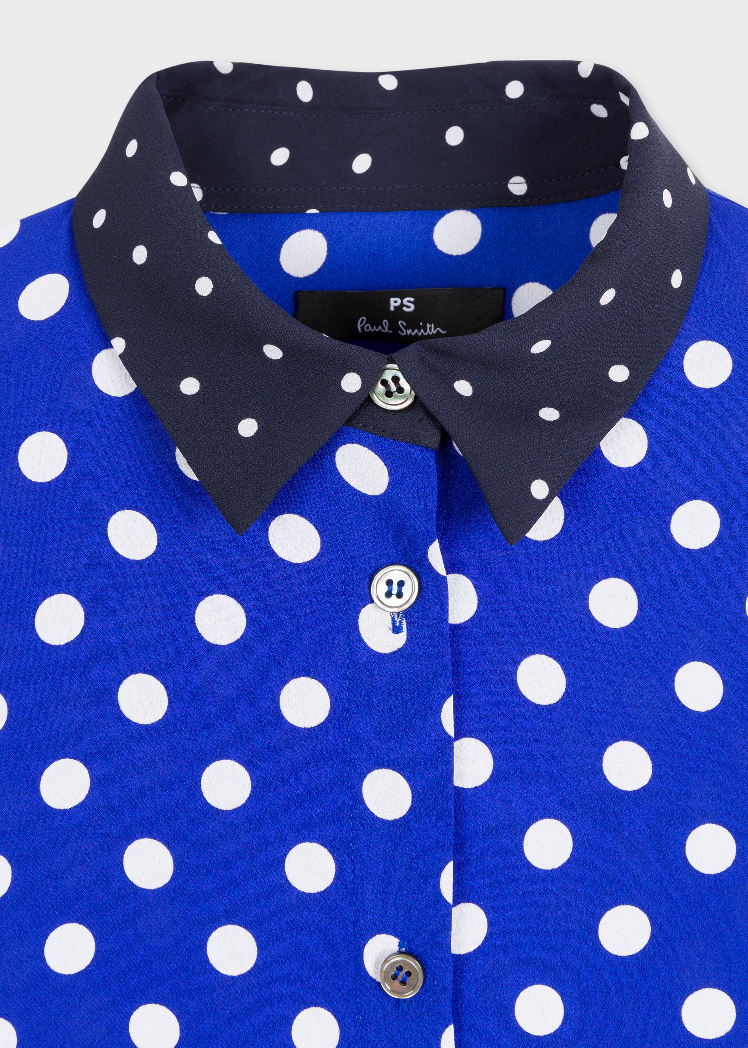 Women's Blue And White Polka Dot Shirt With Contrast ...