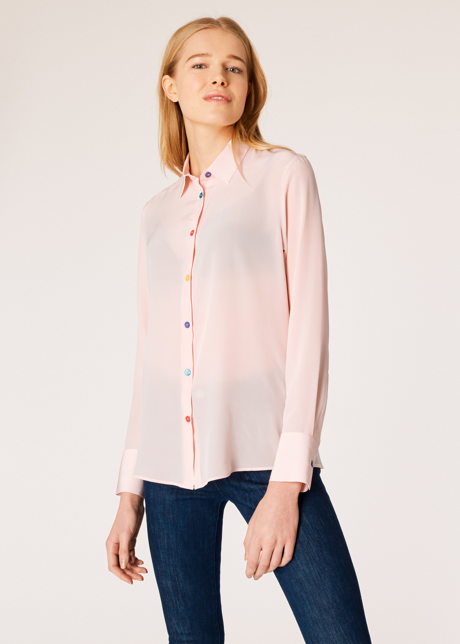 c2c6a238794b45 Model front close up - Women s Light Pink Silk Shirt With Multi-Coloured  Button Placket
