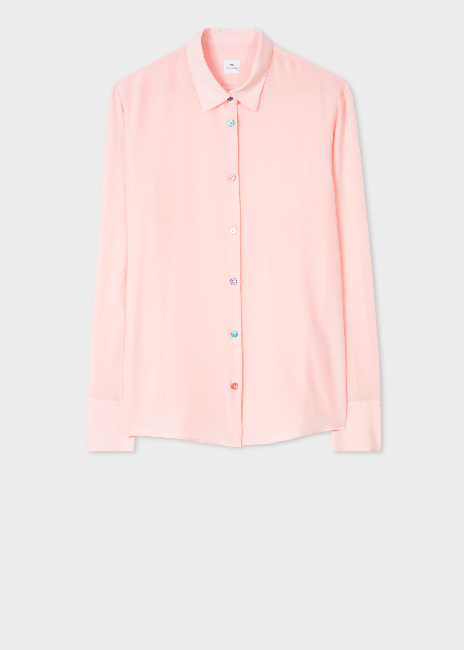 53ee8413bb83eb Front view - Women s Light Pink Silk Shirt With Multi-Coloured Button  Placket Paul Smith