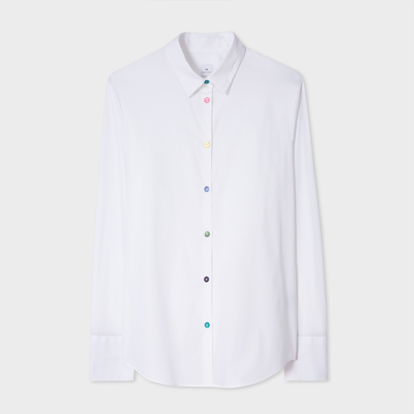 Women's White Stretch-Cotton Shirt With 'Swirl' Cuff Lining