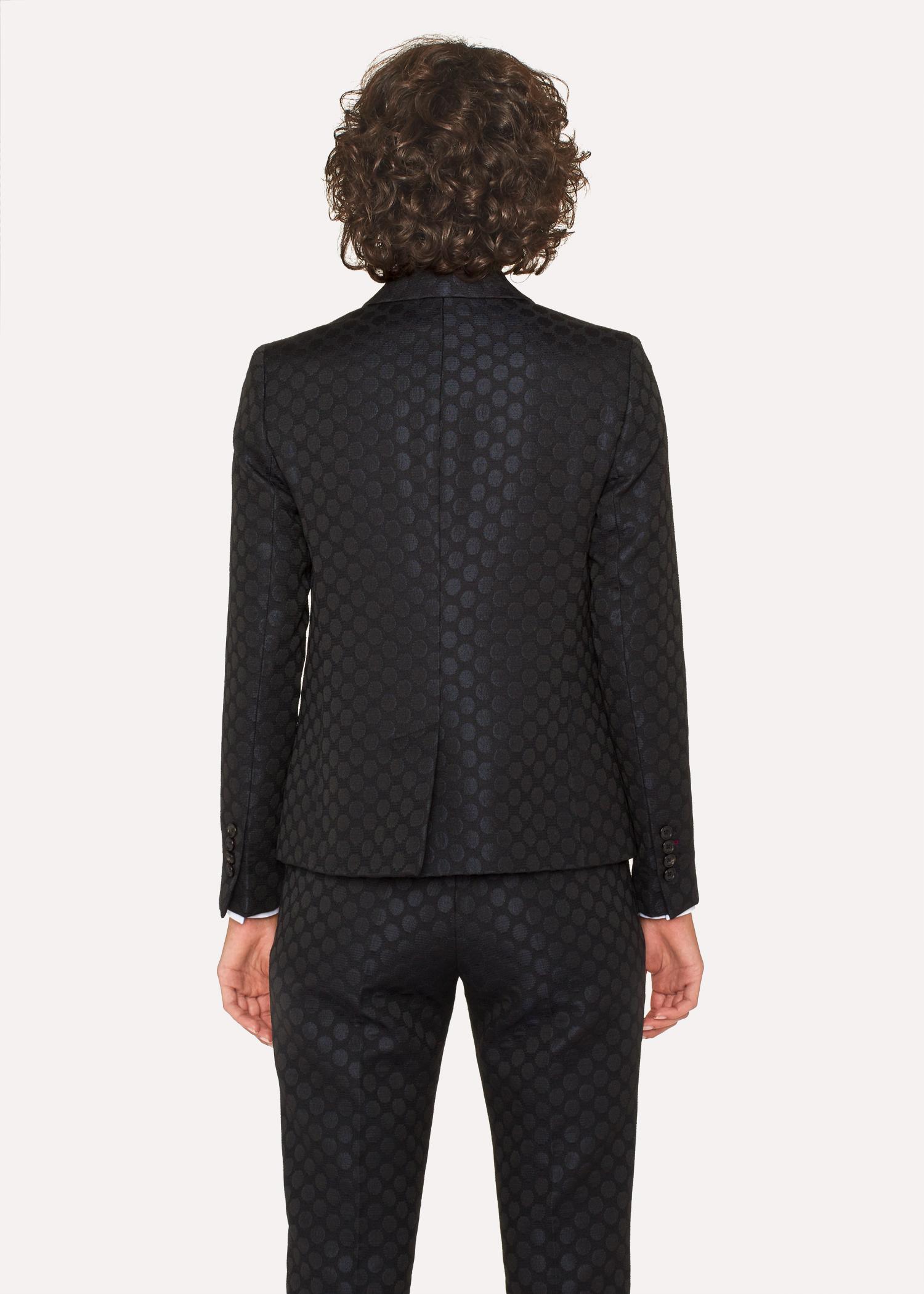 Women S Black Polka Dot Jacquard Double Breasted Blazer Paul Smith Us