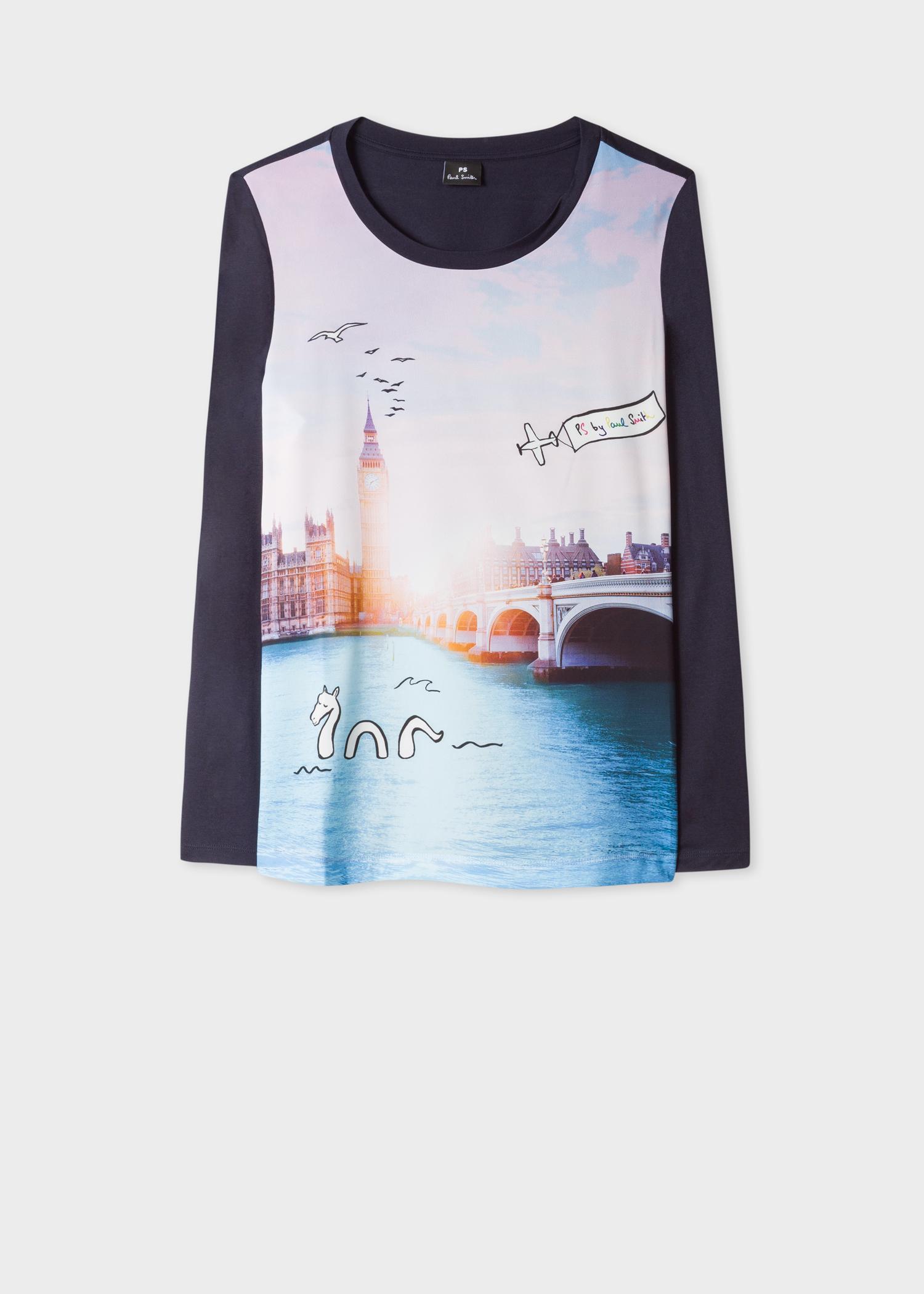 acbf58679 Women's Dark Navy 'London Photo' Print Long-Sleeve T-Shirt - Paul ...