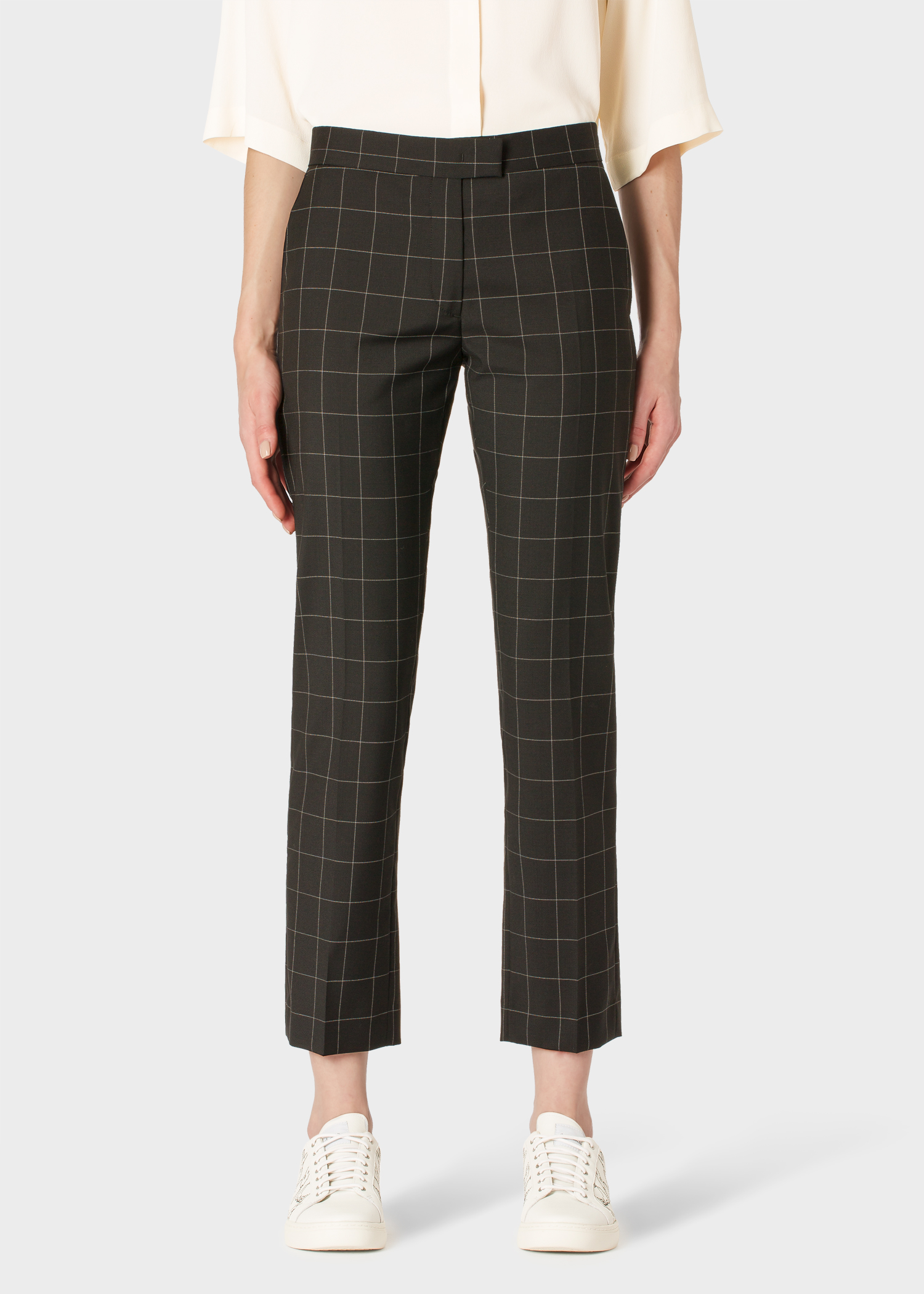 9f42937584 Women's Slim-Fit Black Windowpane Check Wool-Blend Pants