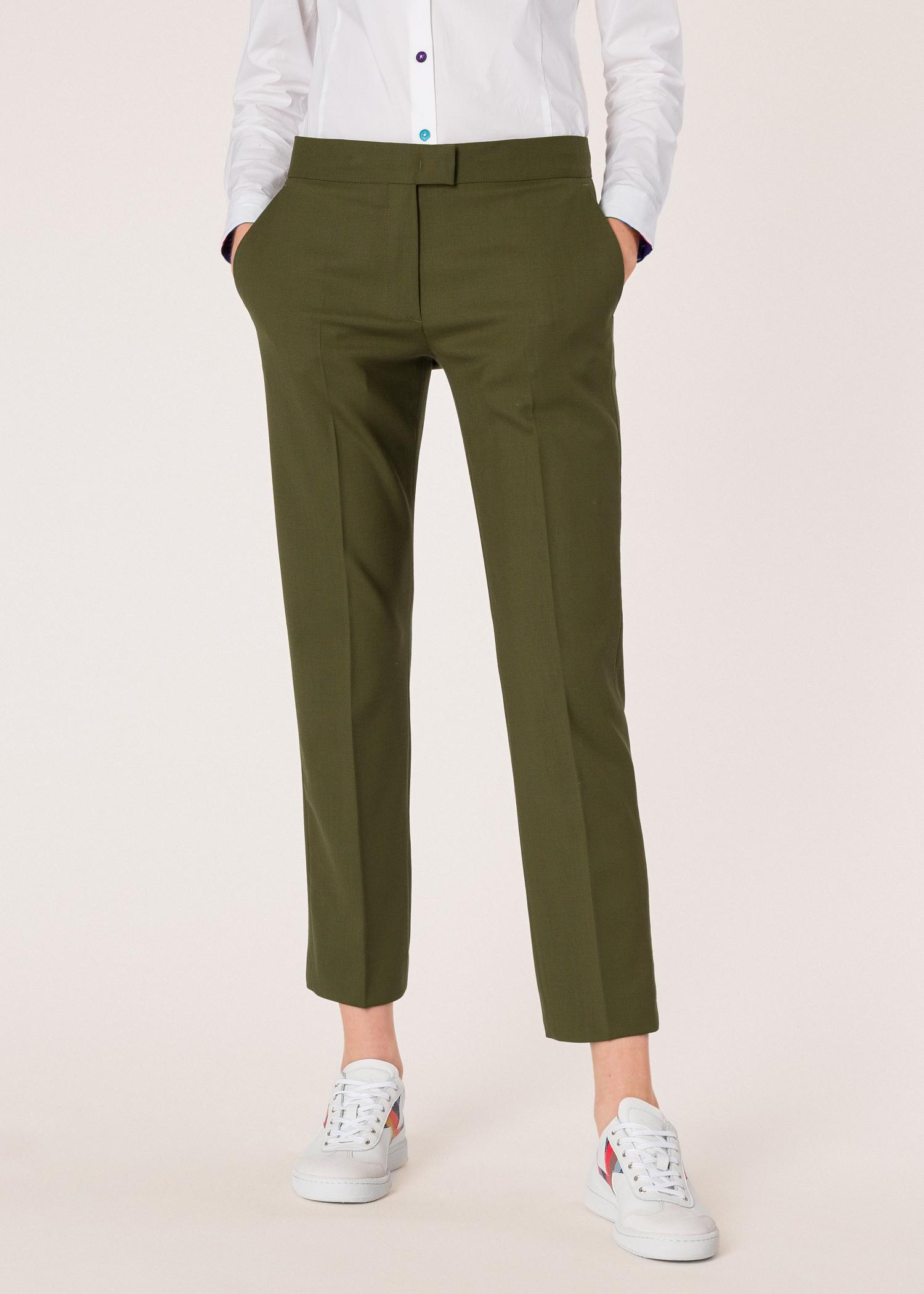 5dc2b04d636 Model front close up- Women's Slim-Fit Khaki Wool-Hopsack Pants Paul Smith