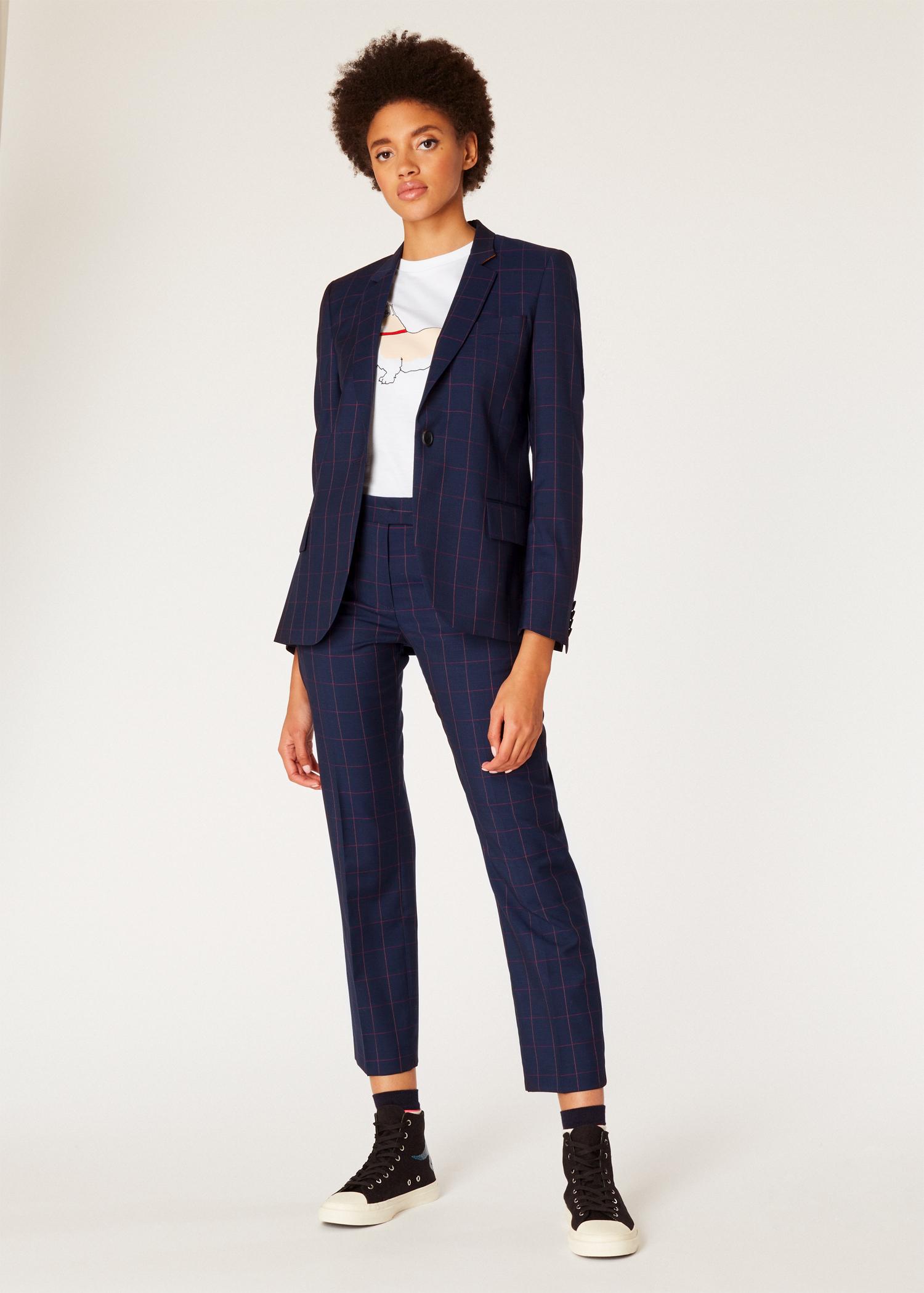 1160f58577bc Model full - Women's Dark Navy Windowpane Check Wool Suit Paul Smith