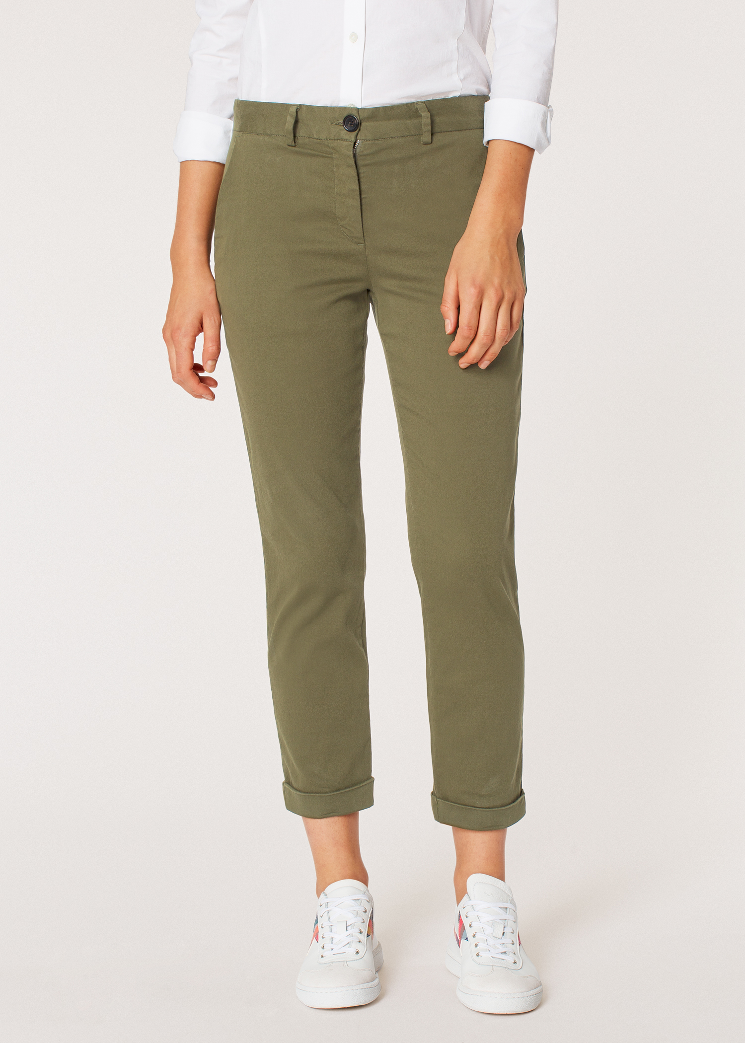 17ea36413 Model front close up - Women's Khaki Stretch-Cotton Chinos Paul Smith
