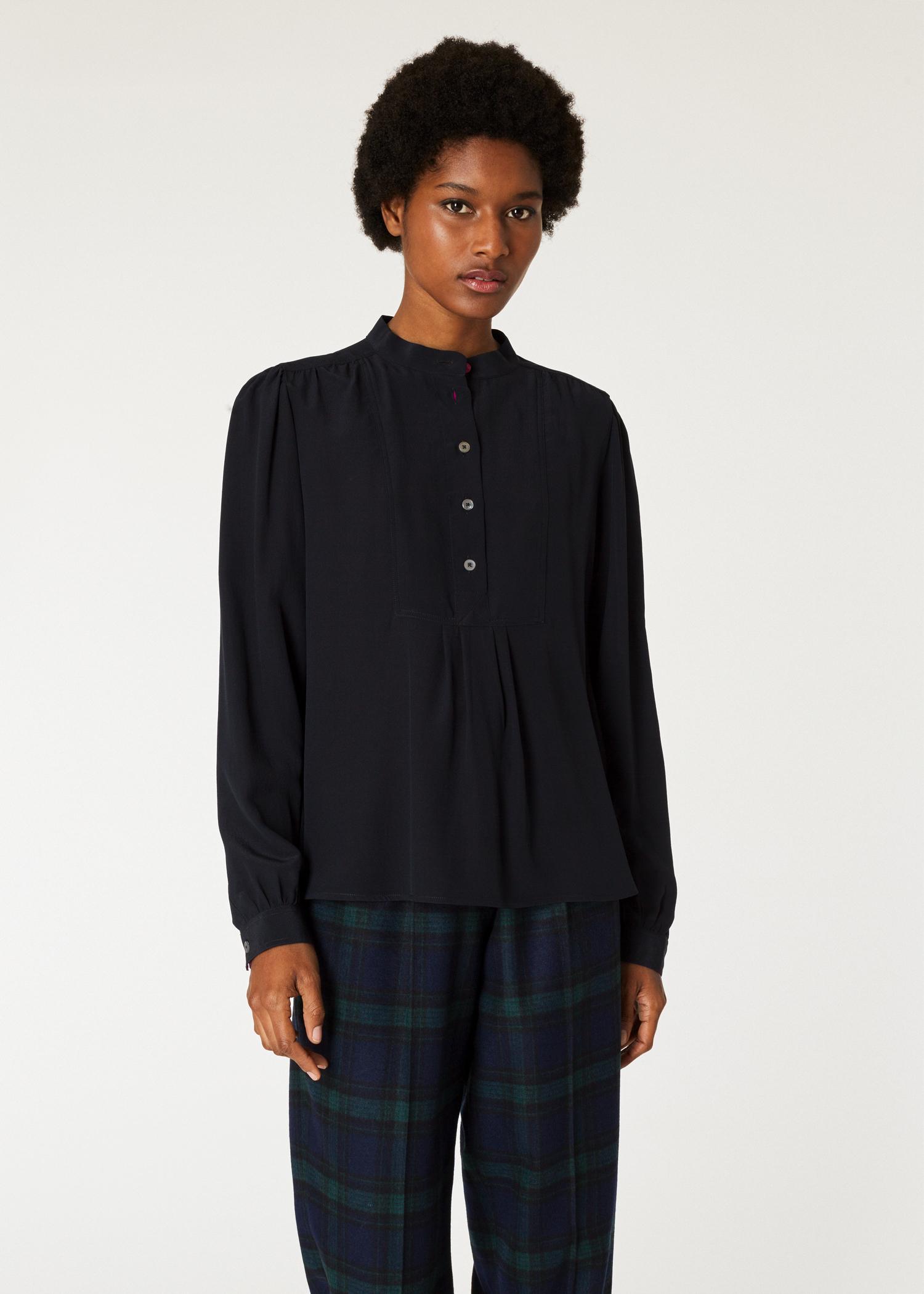 fe42b665d24ee2 Model front close up- Women's Black Band-Collar Silk Shirt Paul Smith