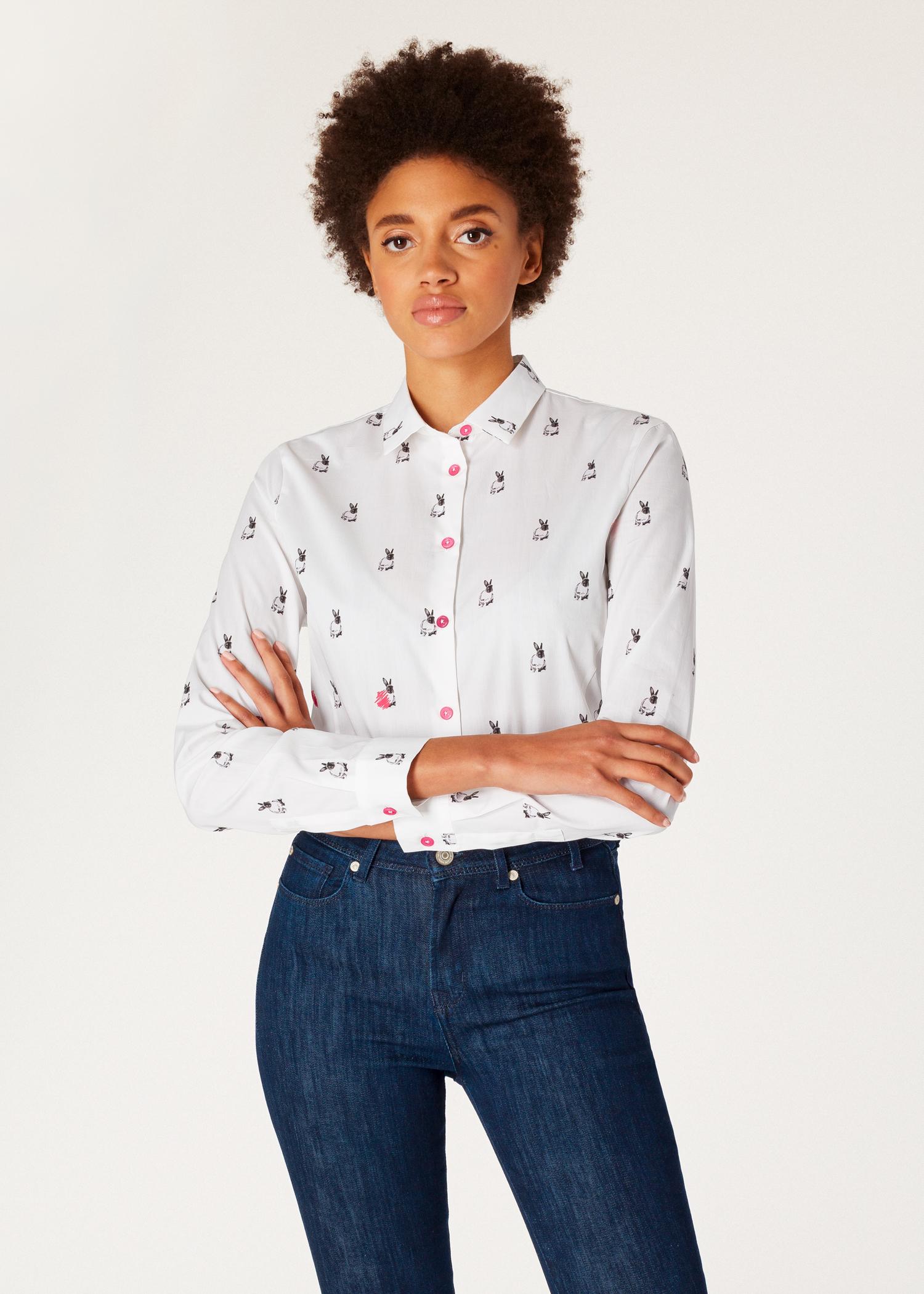 Womens Slim Fit White Rabbit Scribble Print Shirt Paul Smith Us