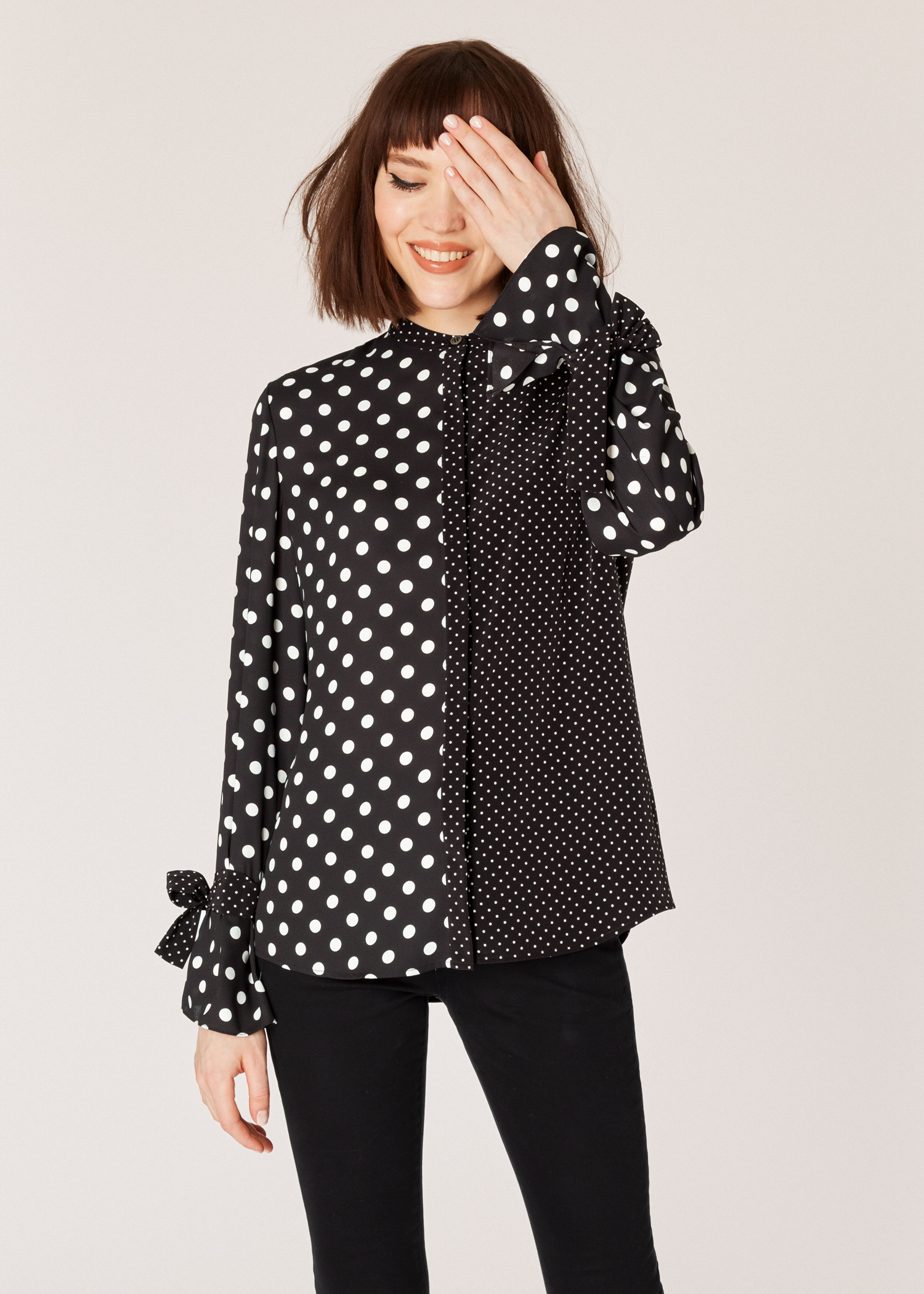 49af7198417ee4 Model front close up - Women's Black And White Polka Dot Shirt With Tie  Cuffs Paul