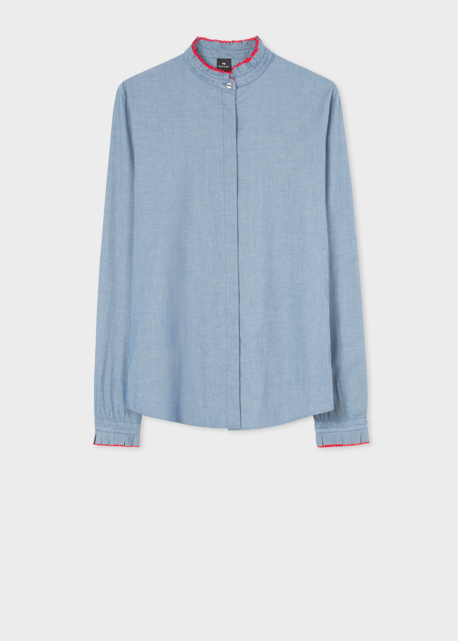 7b5286a4358 Fornt view - Women s Chambray Stretch-Cotton Shirt With Contrast Ruffle  Trims Paul Smith
