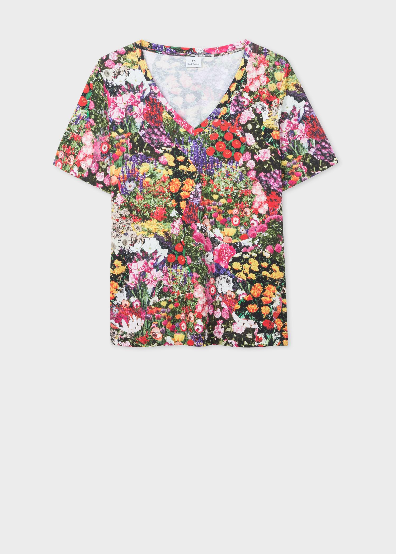 63da18a2ce081c Front view - Women's 'Floral Collage' Print Cotton V-Neck T-Shirt