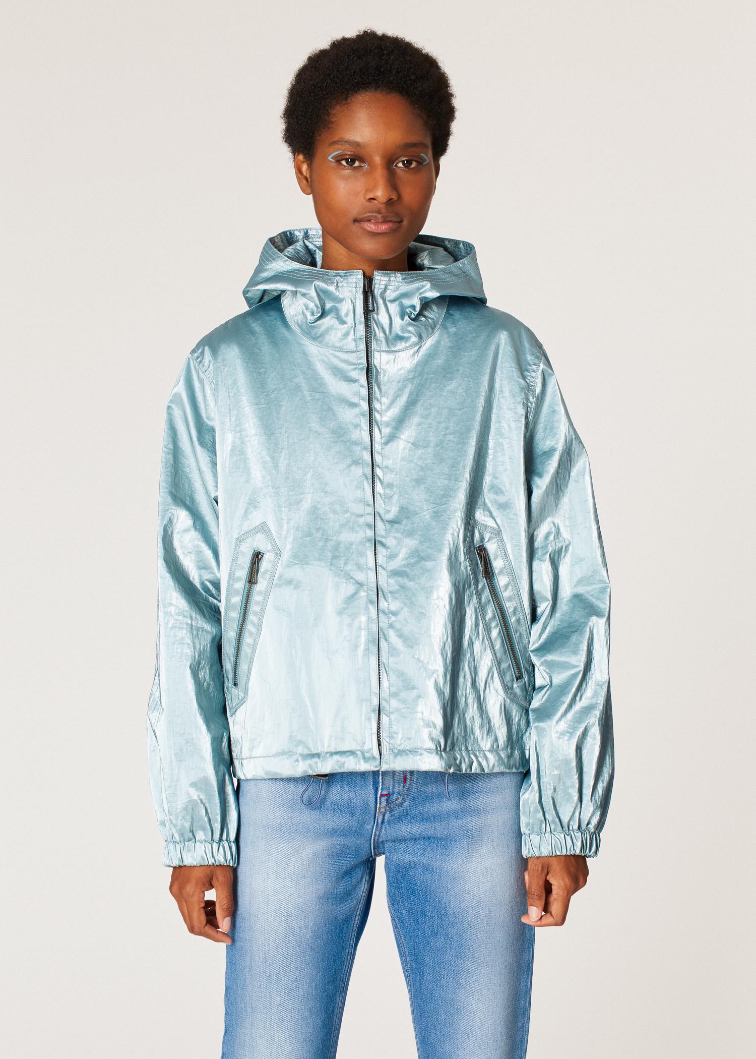 bd8b8f844 Women's Light Blue Coated-Linen Bomber Jacket With Hood